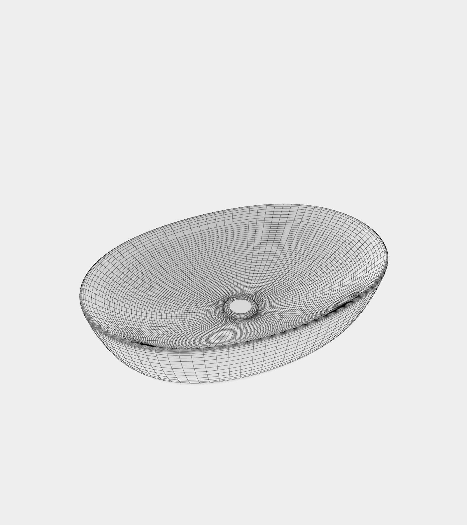 White wash basin with a round shape-wire-1 3D Model