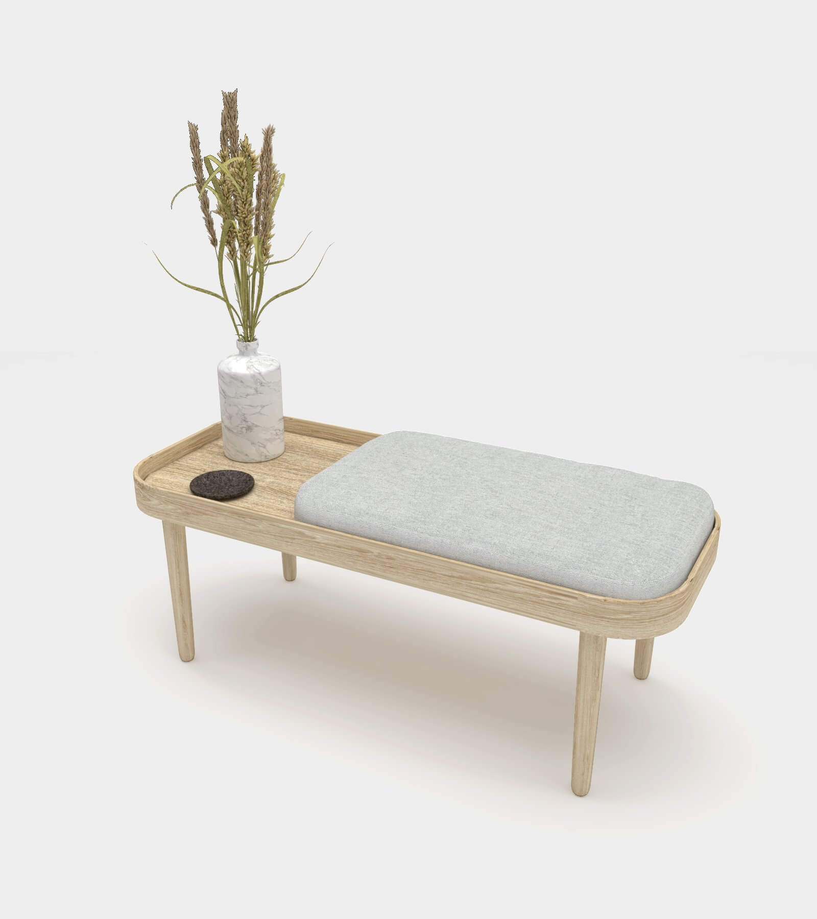 Wooden bench with accessories-2 3D Model