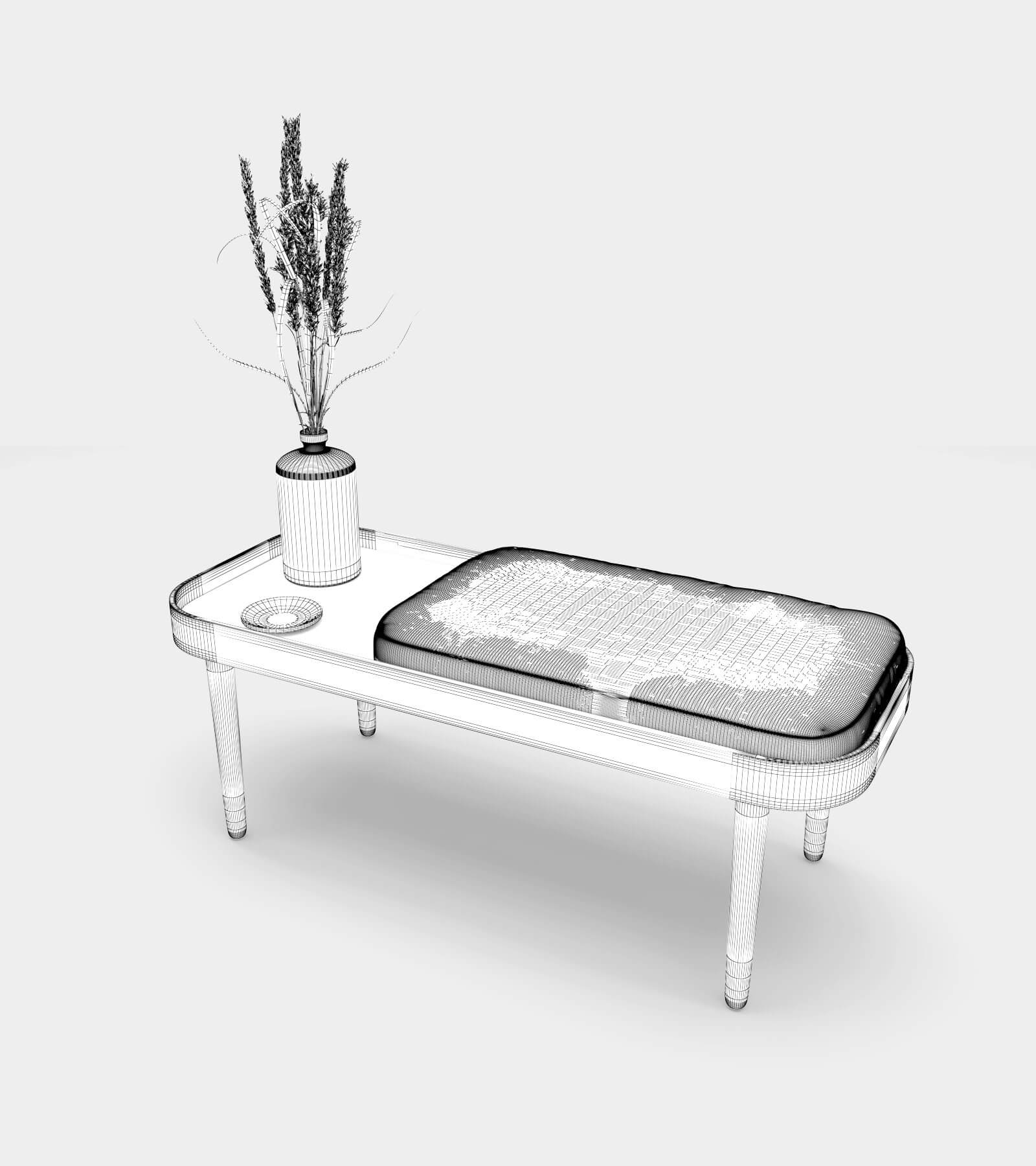 Wooden bench with accessories-wire-2 3D Model