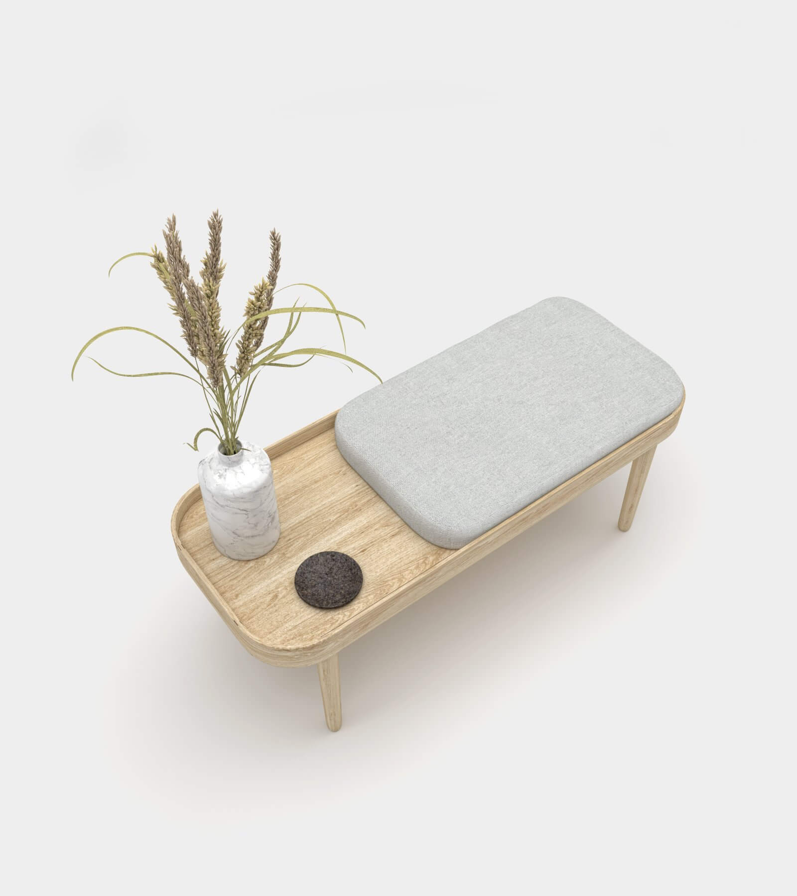 Wooden bench with accessories 3D Model