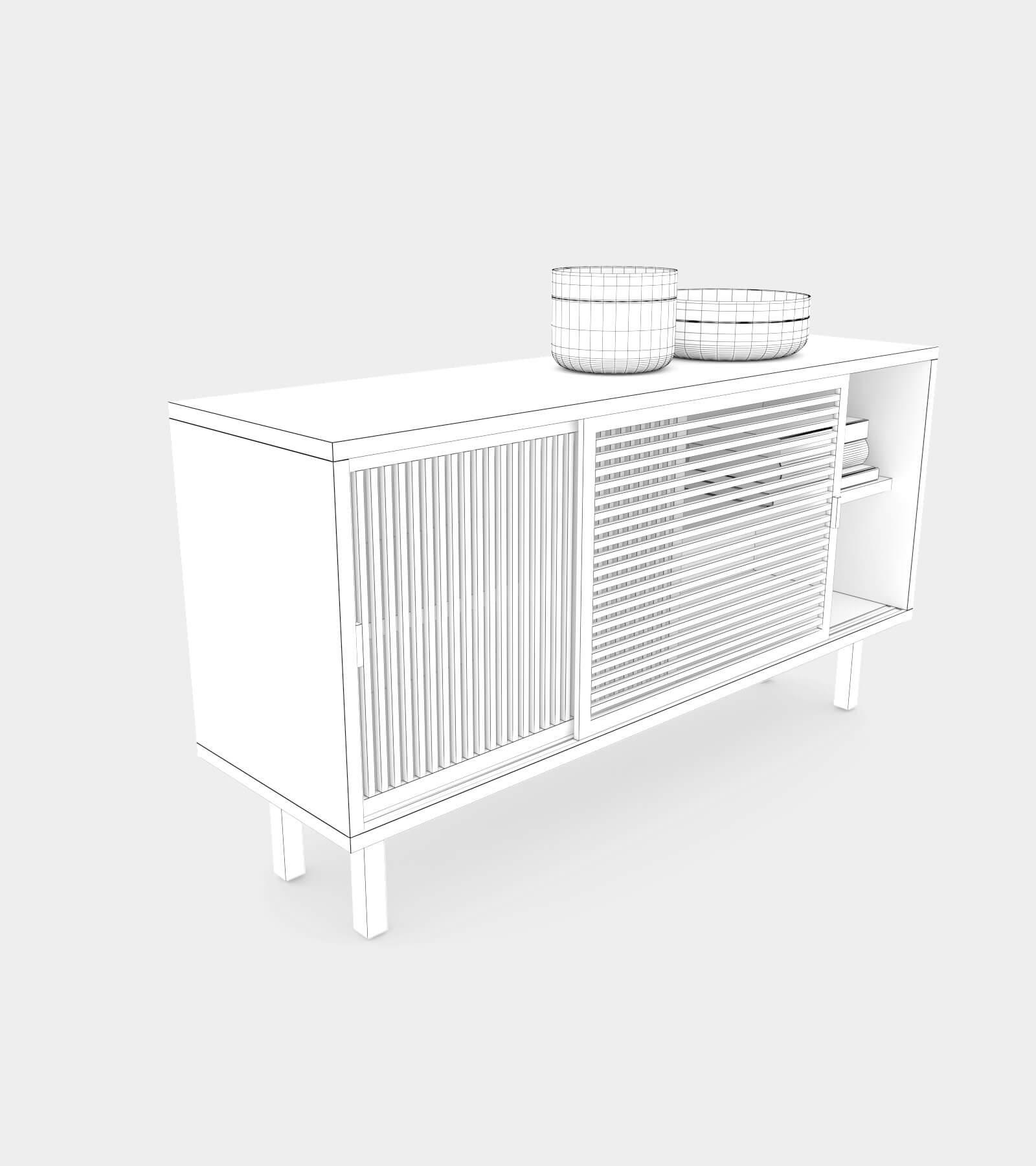 Wooden sliding door sideboard-wire-1 3D Model