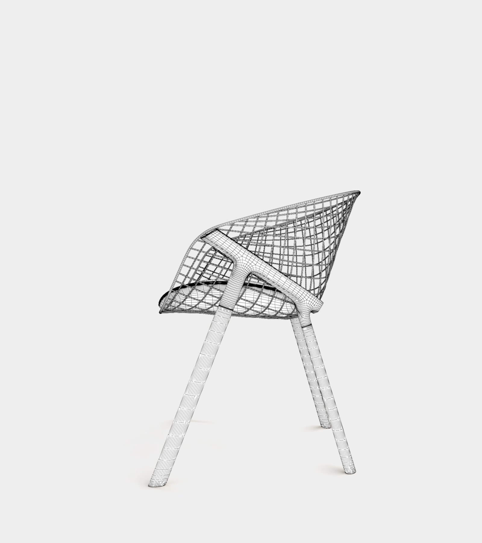 Dining chair with wire backrest-wire-2 3D Model
