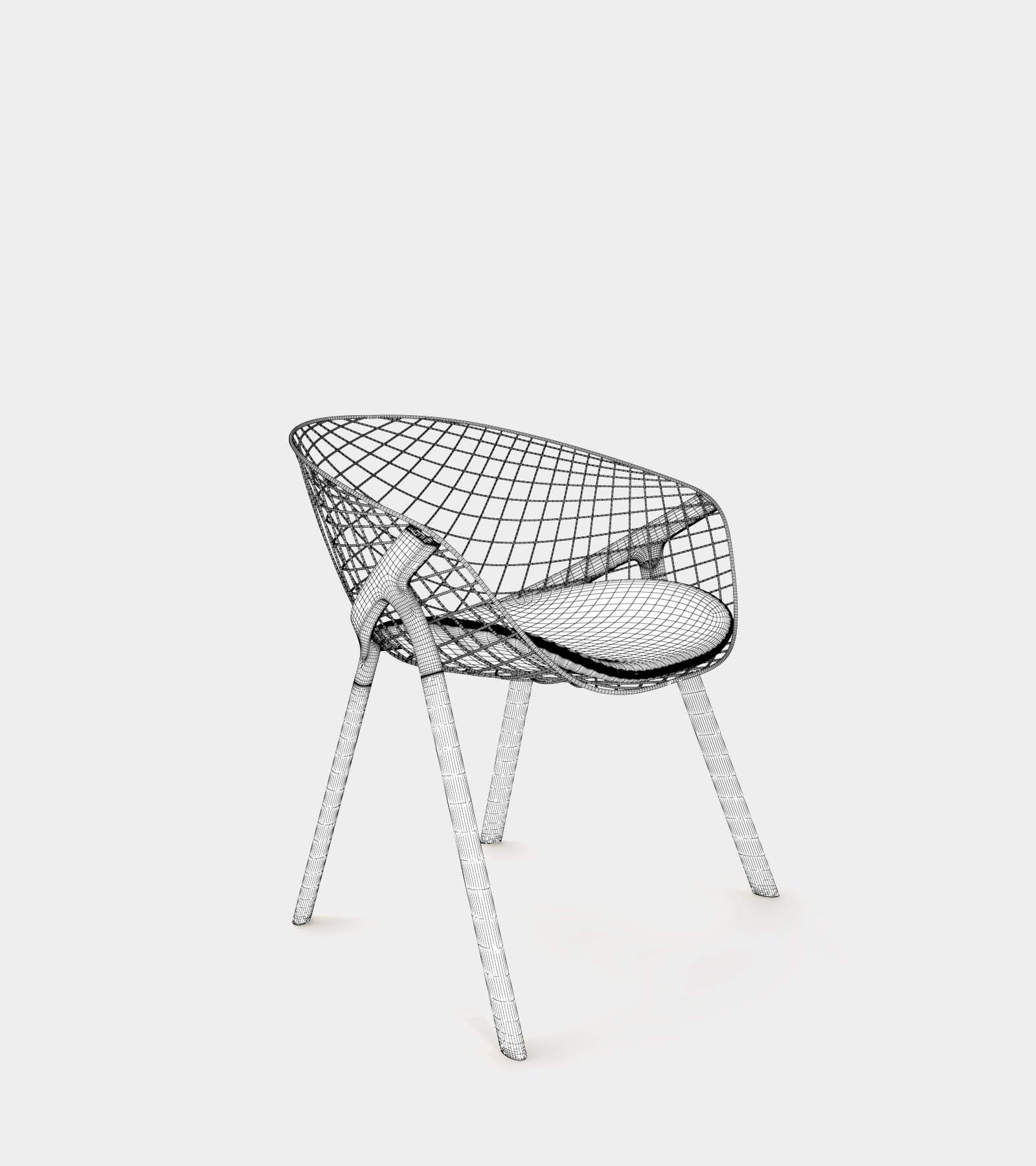 Dining chair with wire backrest-wire 3D Model