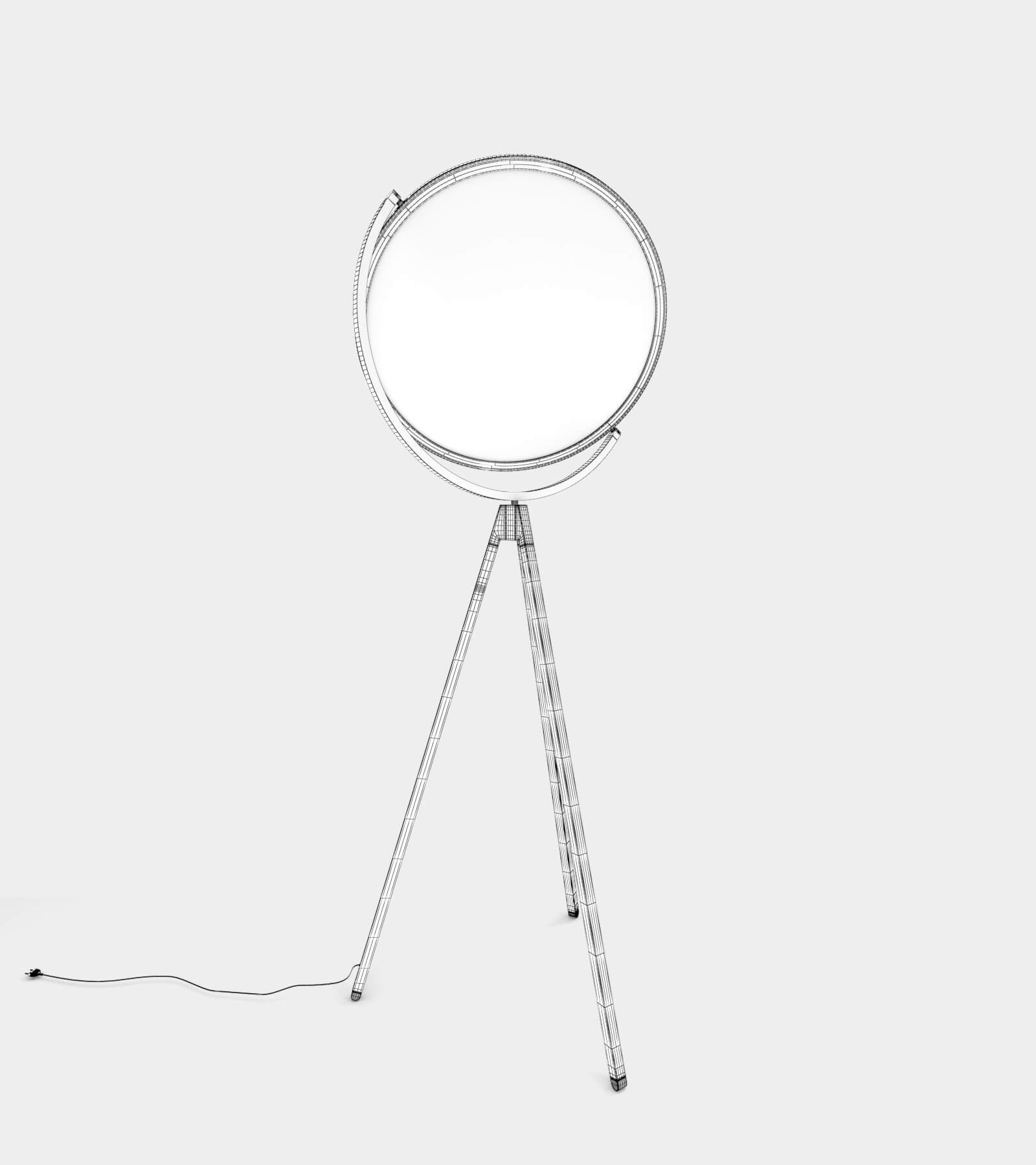Floor lamp with round light shape-wire 3D Model