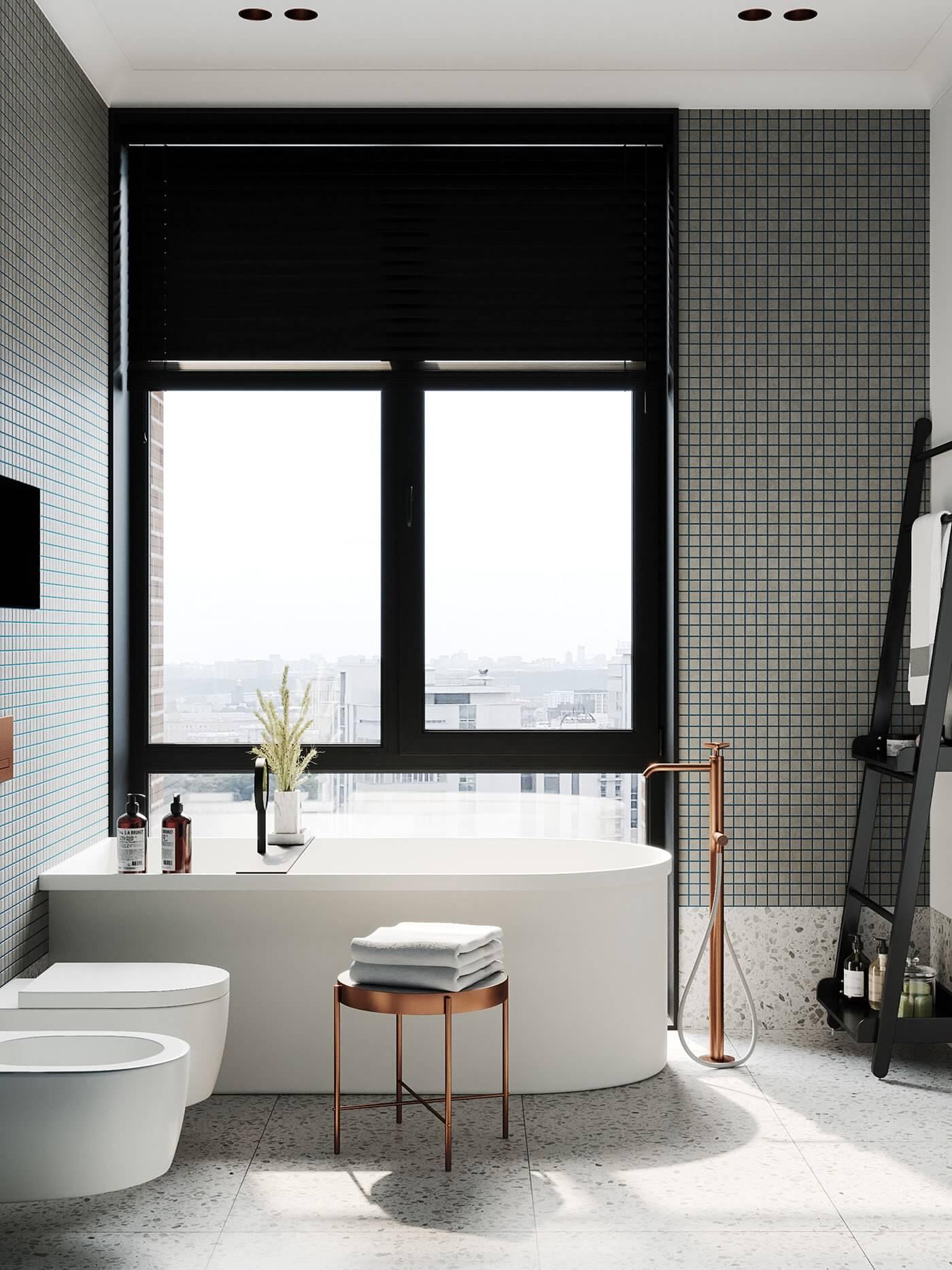 Apartment Presnya City Moscow bathroom design bathtub wash basin wc - cgi visualization
