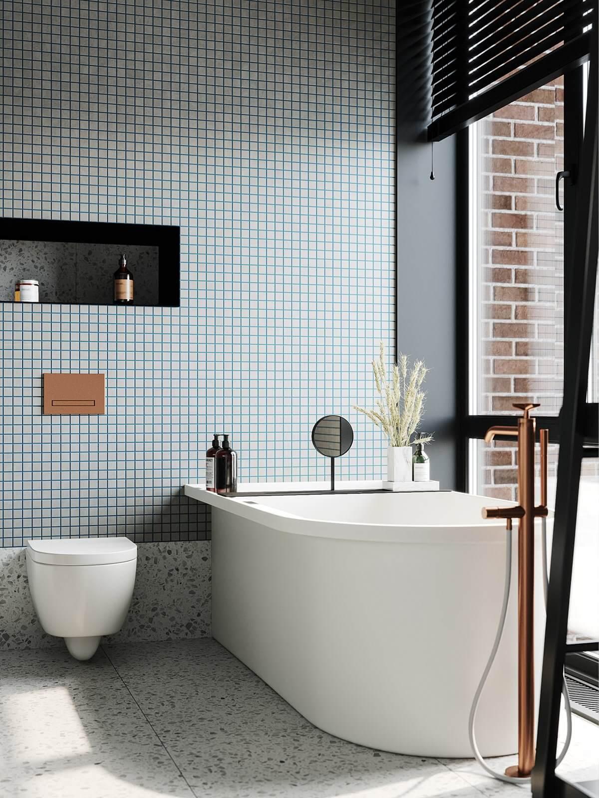 Apartment Presnya City Moscow bathroom design bathtub wc 2 - cgi visualization
