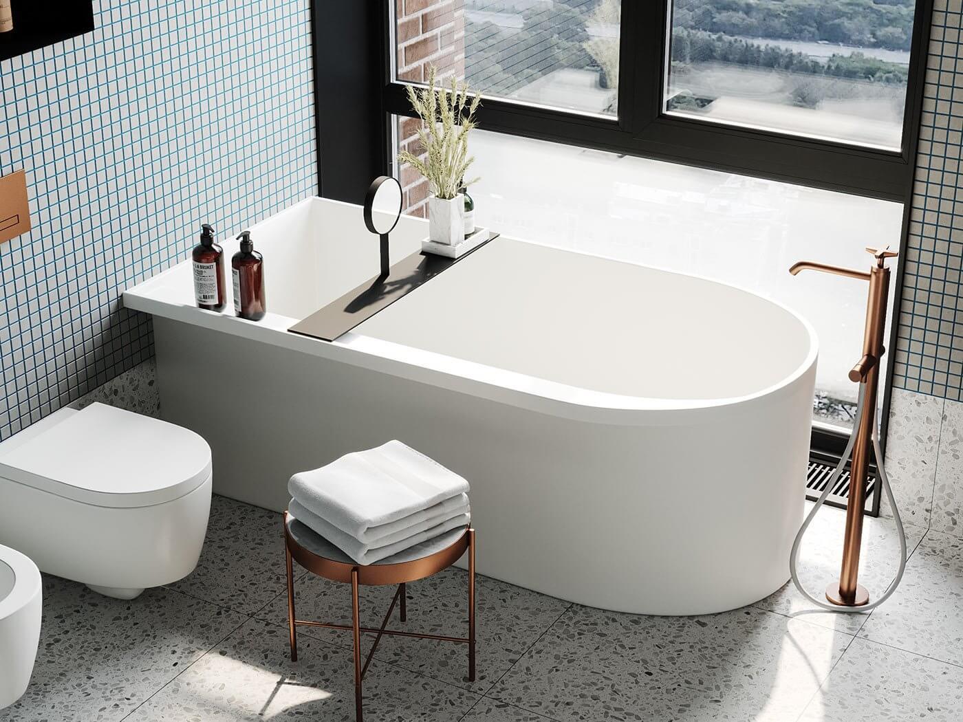 Apartment Presnya City Moscow bathroom design bathtub wc - cgi visualization