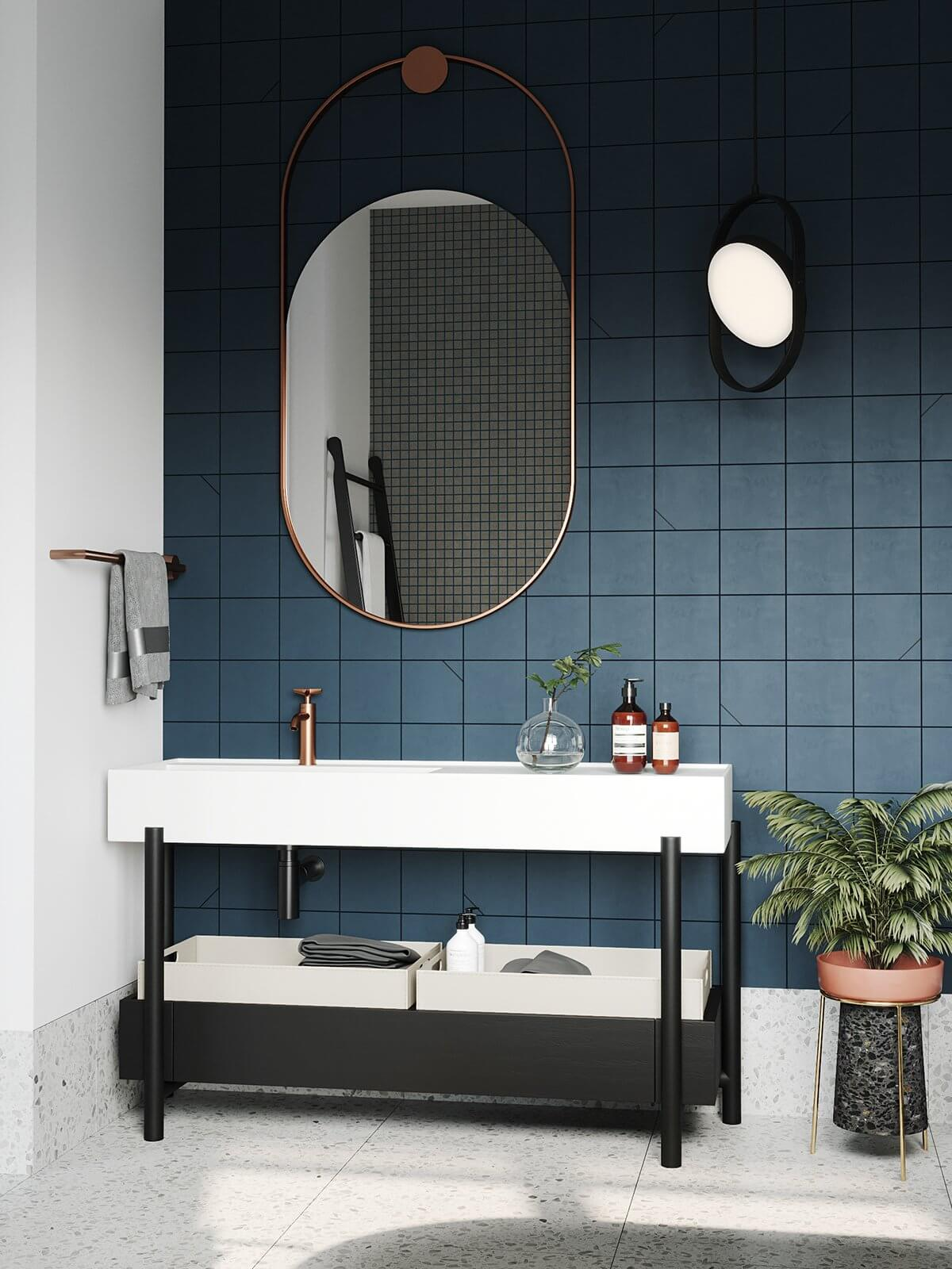 Apartment Presnya City Moscow bathroom design cabinet wash basin - cgi visualization