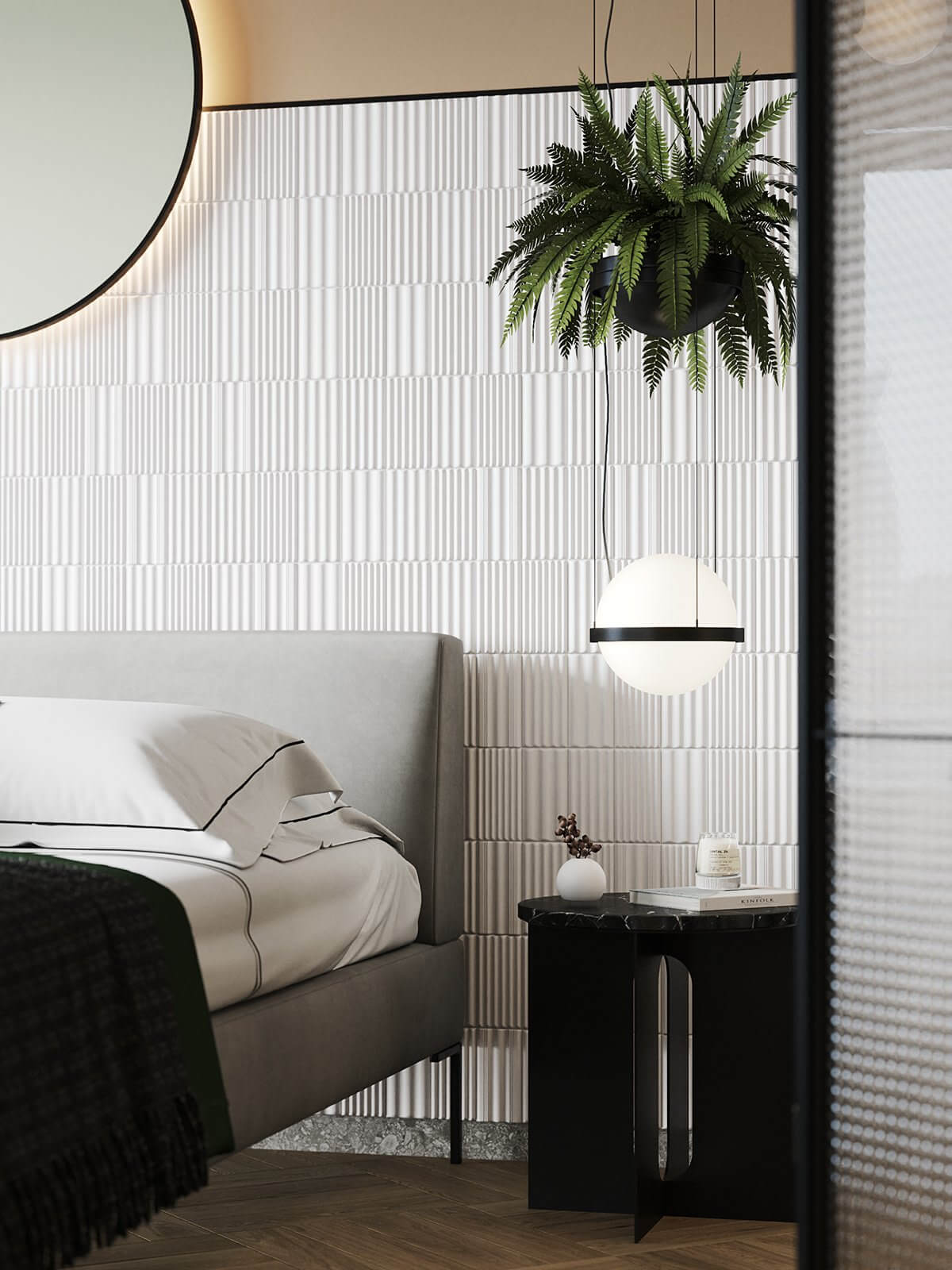 Apartment Presnya City Moscow bedroom design side table pendant lamp round - cgi visualization