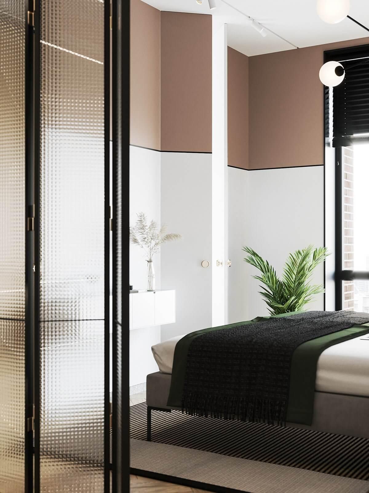 Apartment Presnya City Moscow bedroom modern - cgi visualization