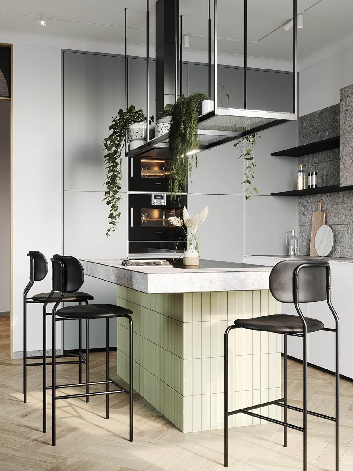 Apartment Presnya City Moscow kitchen area - cgi visualization