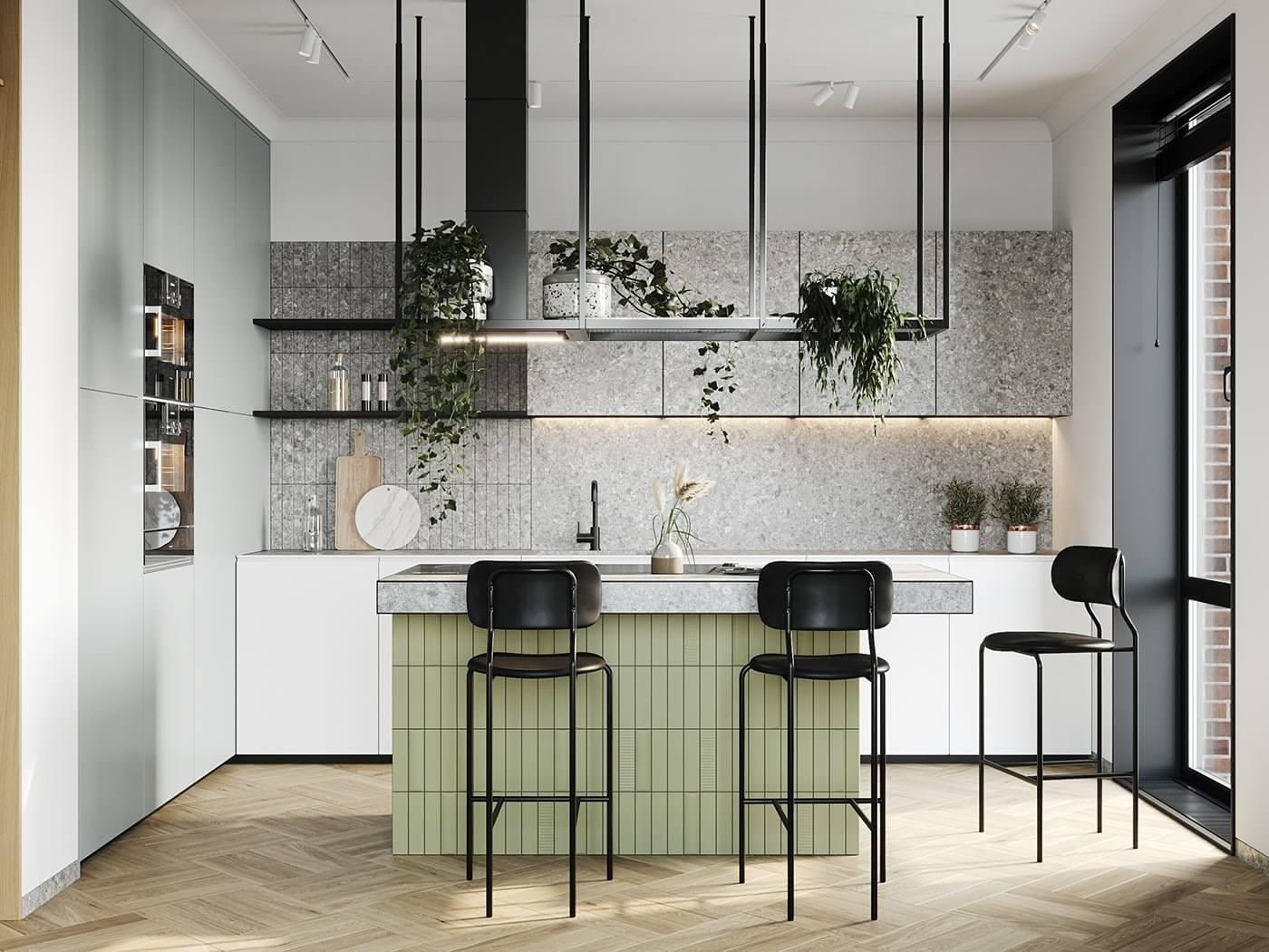 Apartment Presnya City Moscow kitchen design block - cgi visualization