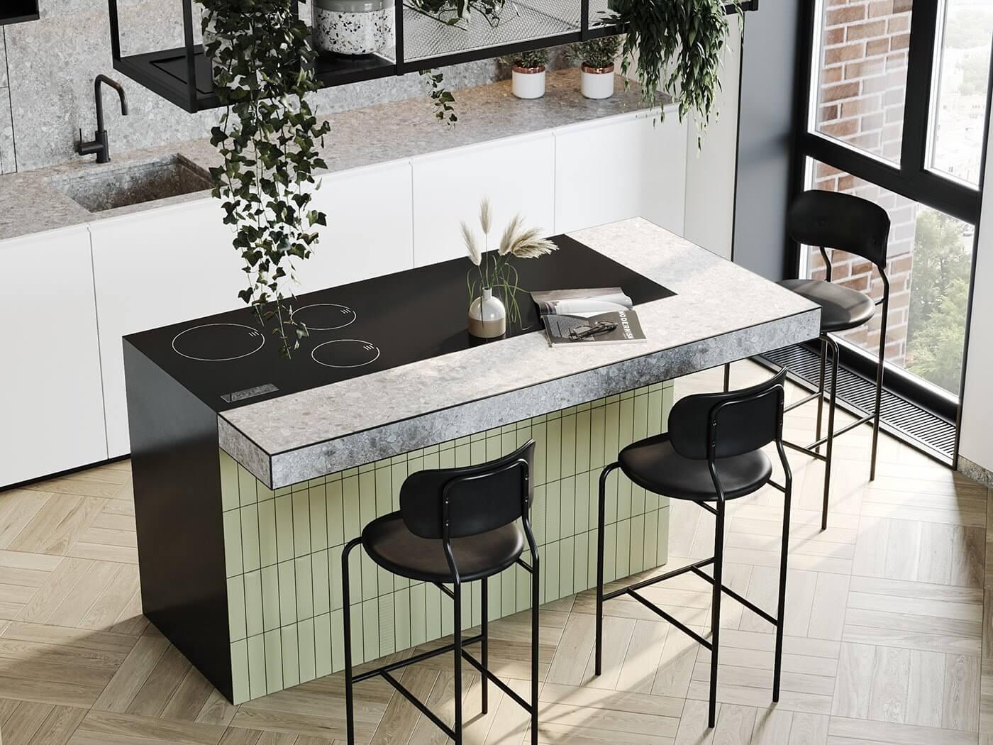 Apartment Presnya City Moscow kitchen design block modern - cgi visualization