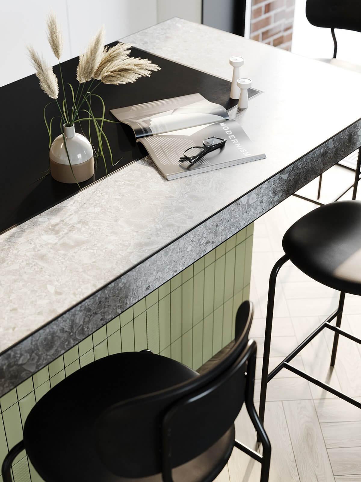 Apartment Presnya City Moscow kitchen design detail stone top - cgi visualization
