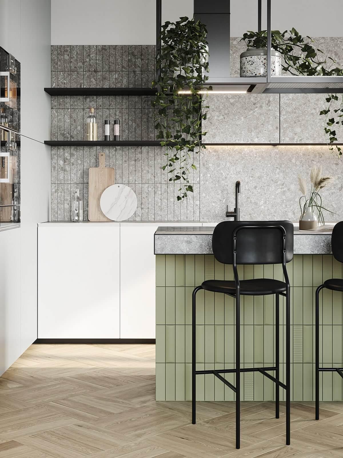 Apartment Presnya City Moscow kitchen design green tiles - cgi visualization