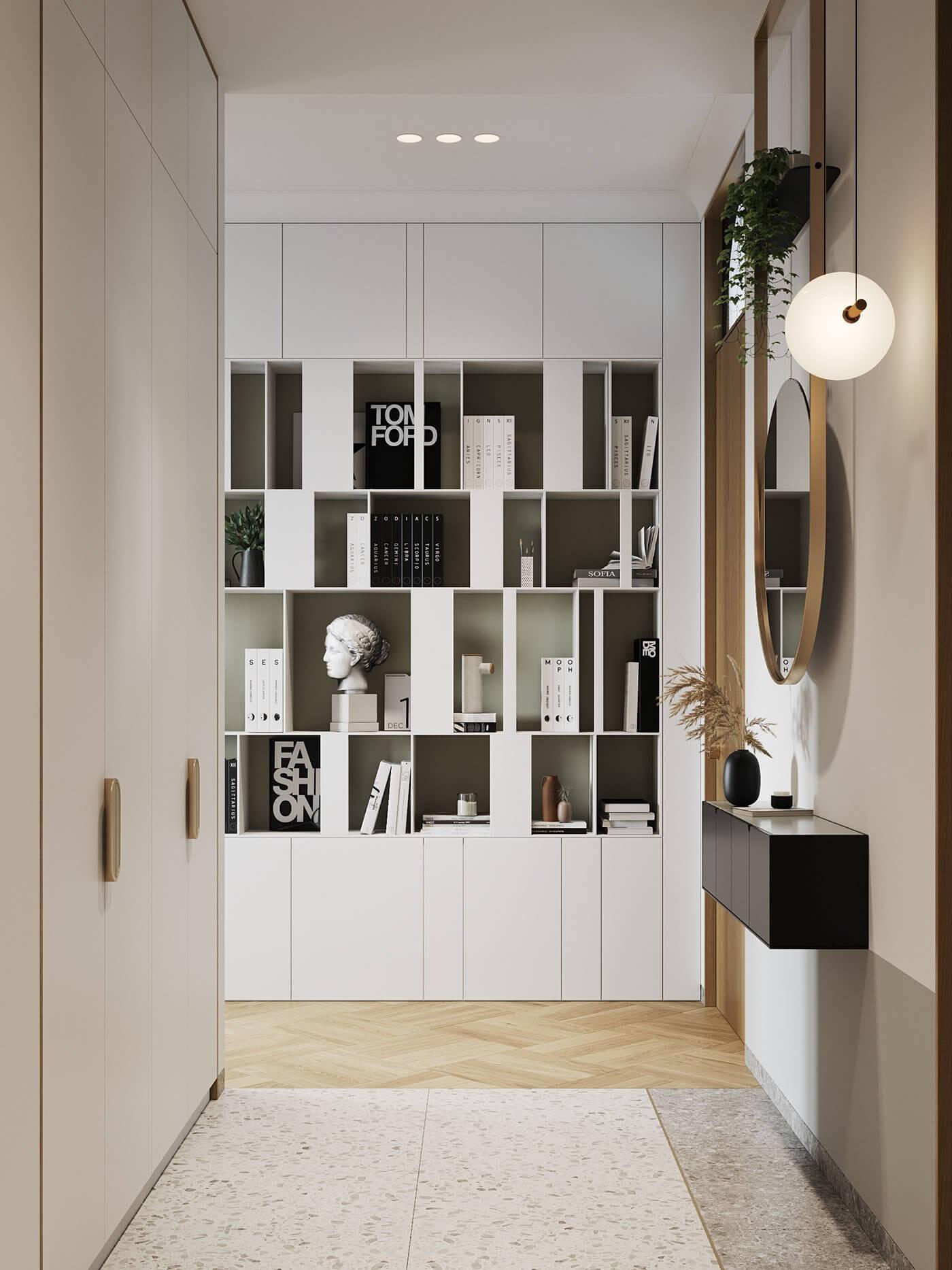 Apartment Presnya City Moscow living room bookshelf - cgi visualization