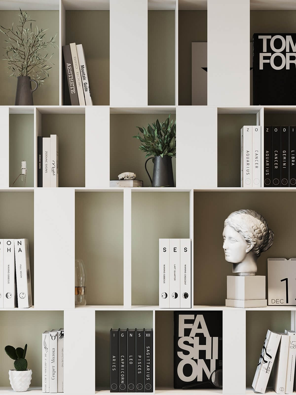 Apartment Presnya City Moscow living room bookshelf detail books - cgi visualization