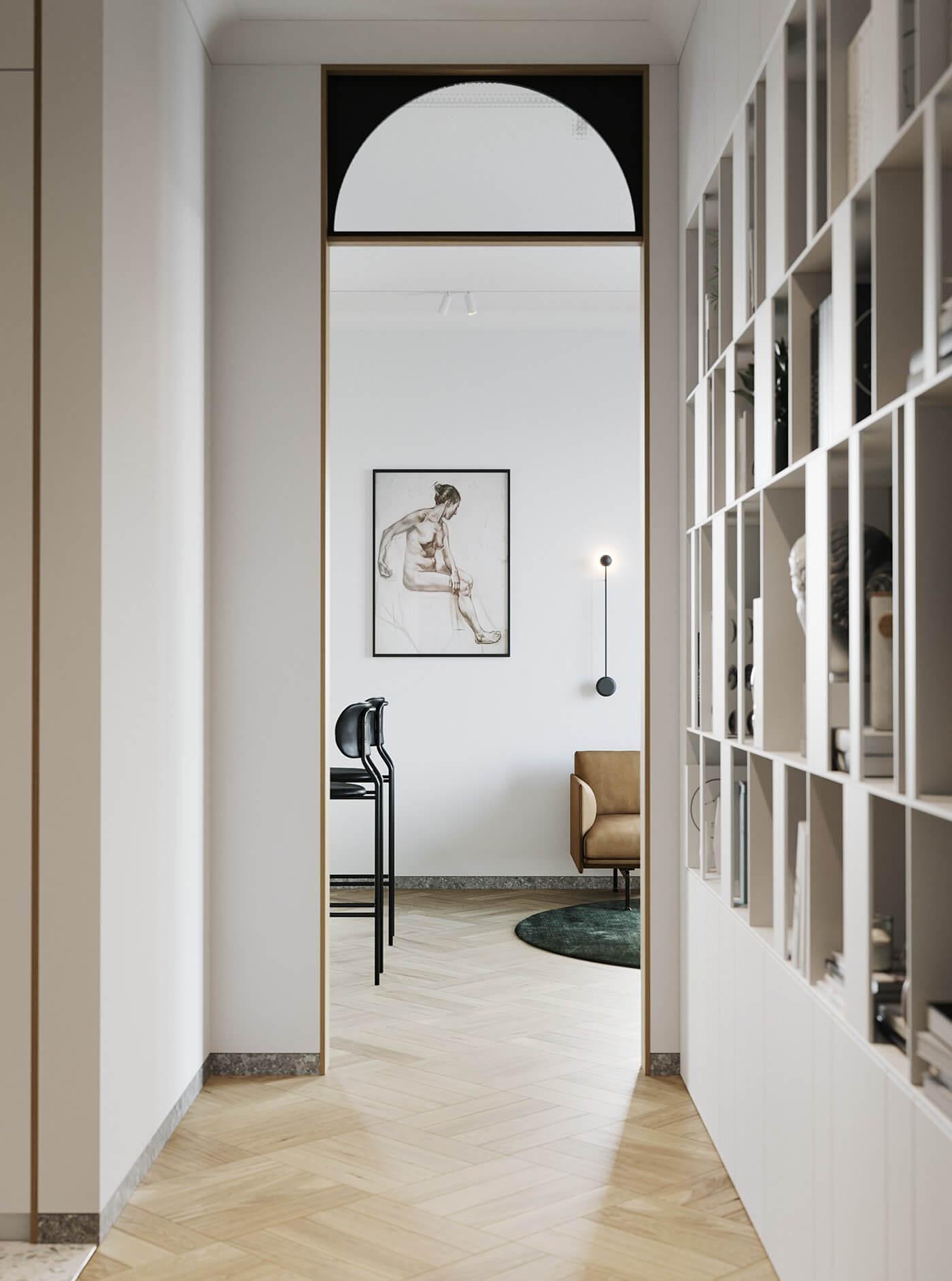 Apartment Presnya City Moscow living room corridor - cgi visualization