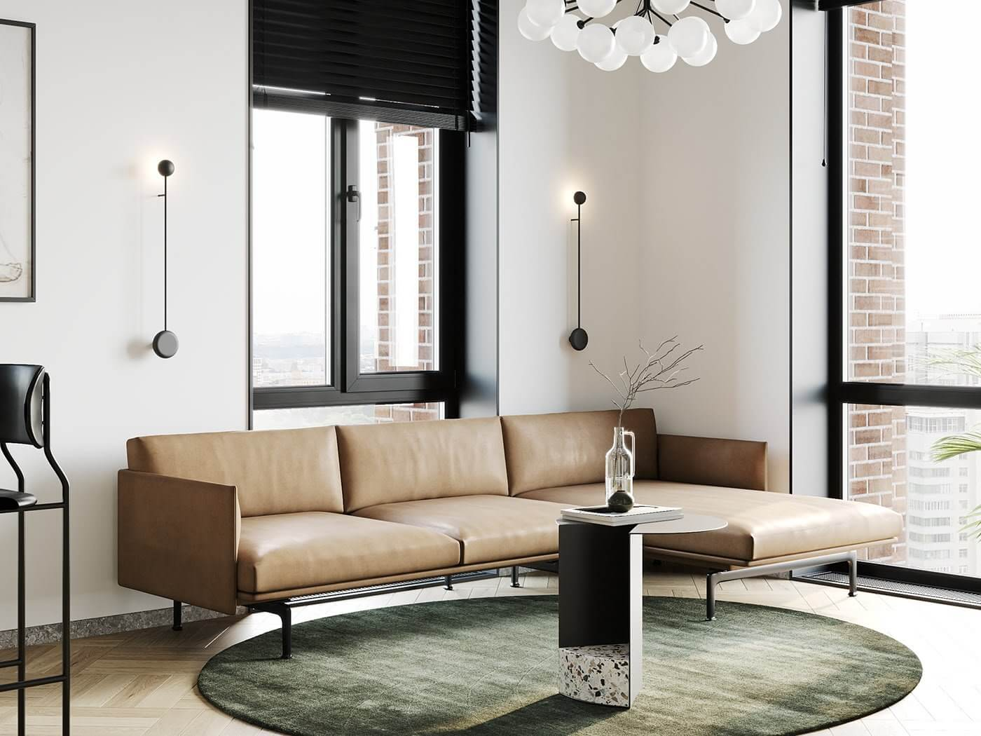 Apartment Presnya City Moscow living room leather couch - cgi visualization