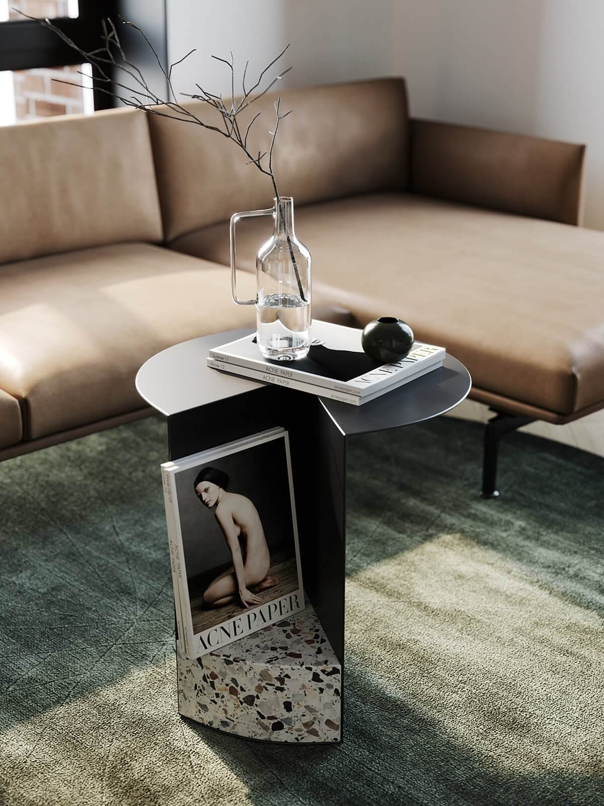 Apartment Presnya City Moscow living room leather couch side table - cgi visualization