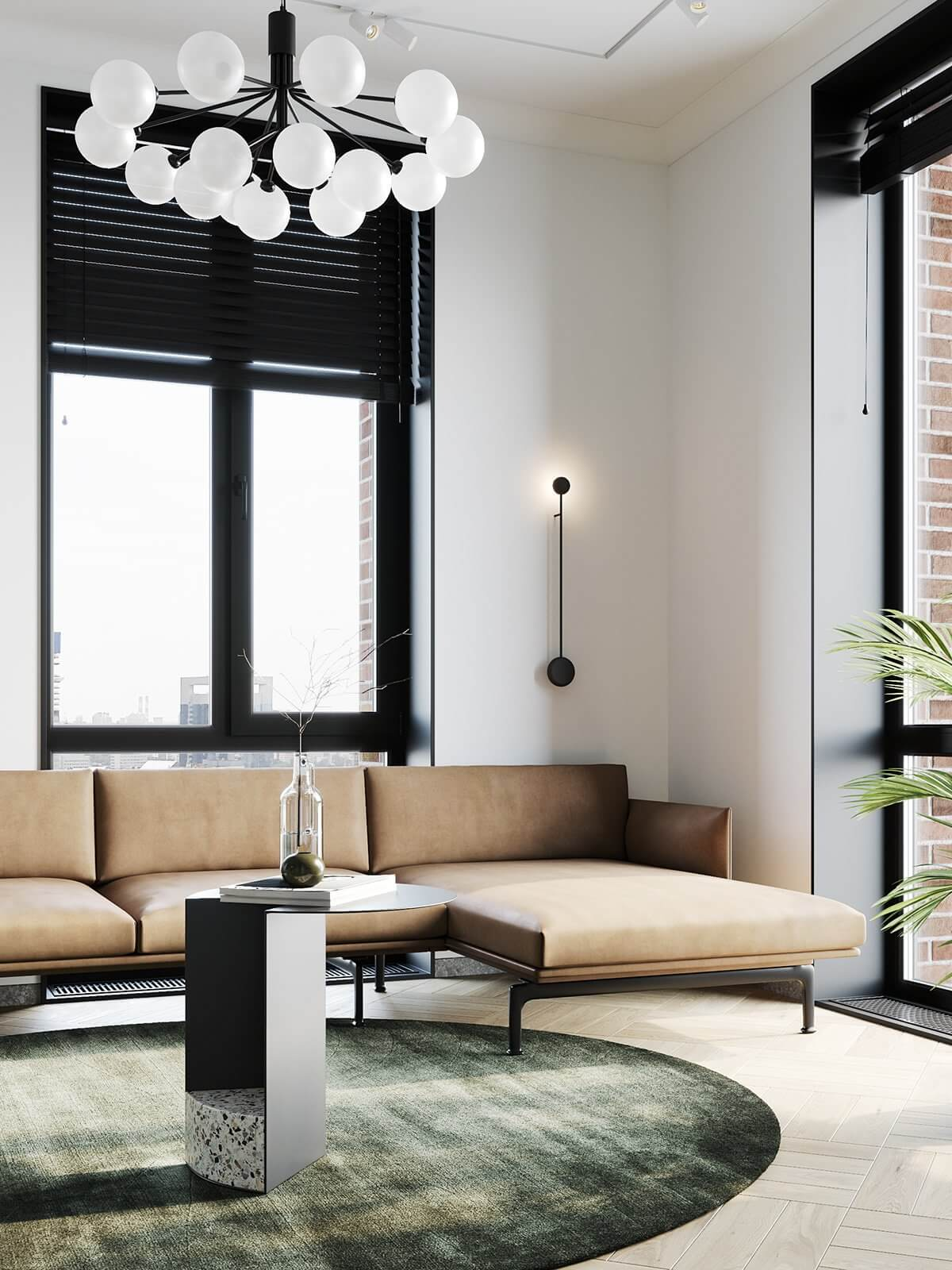 Apartment Presnya City Moscow living room leather couch side table pendant lamp - cgi visualization