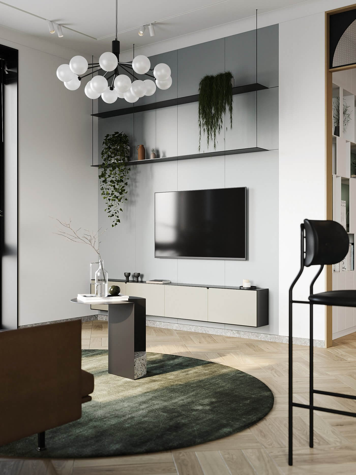 Apartment Presnya City Moscow living room leather couch side table tv wall - cgi visualization