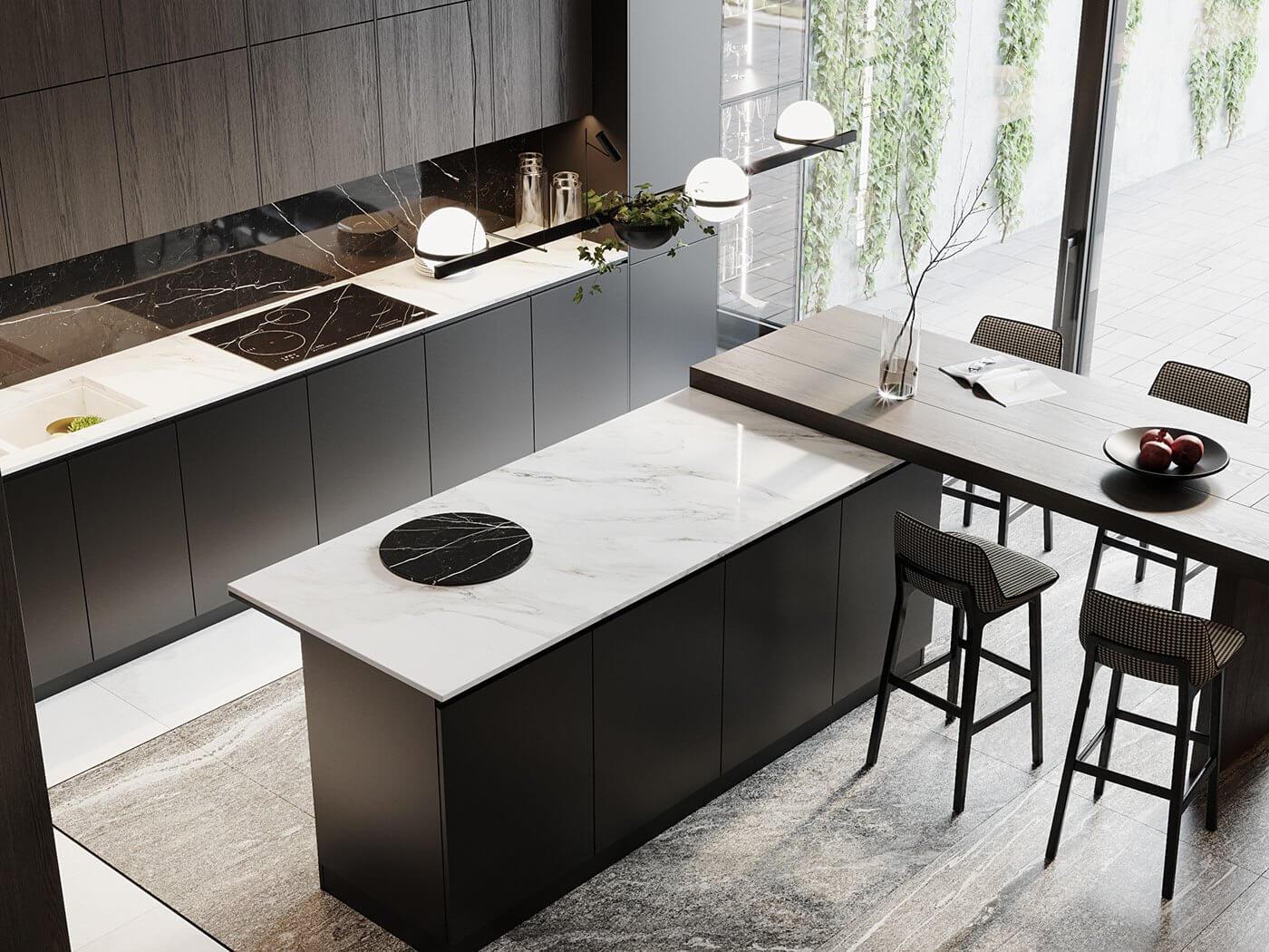 Dark living Apartment kitchen block design - cgi visualization