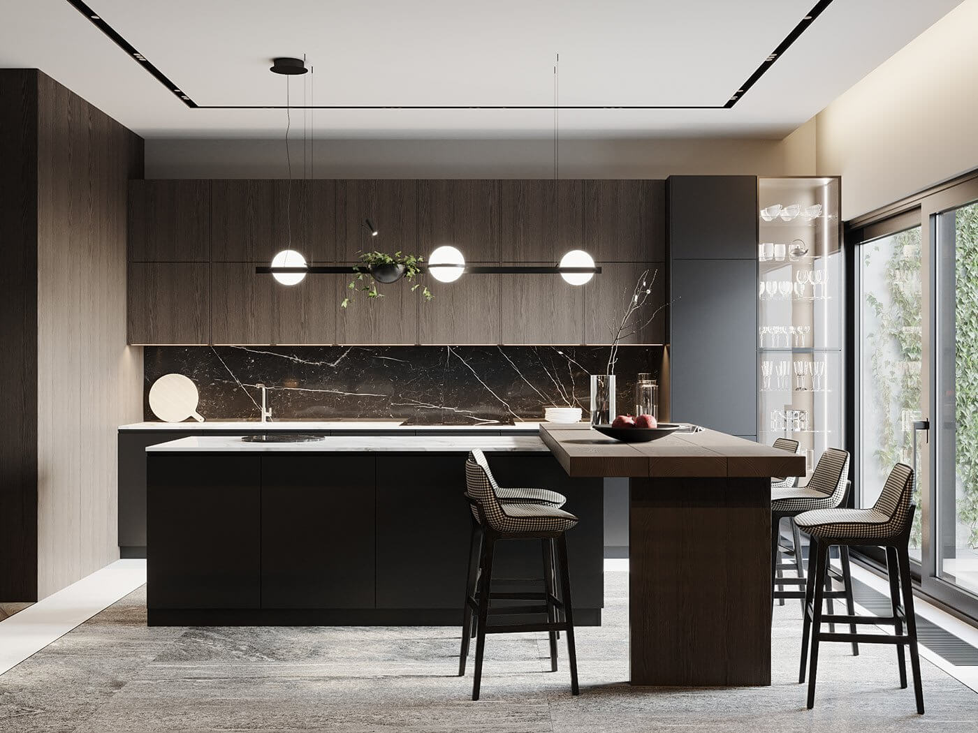 Dark living Apartment kitchen block dining room design - cgi visualization