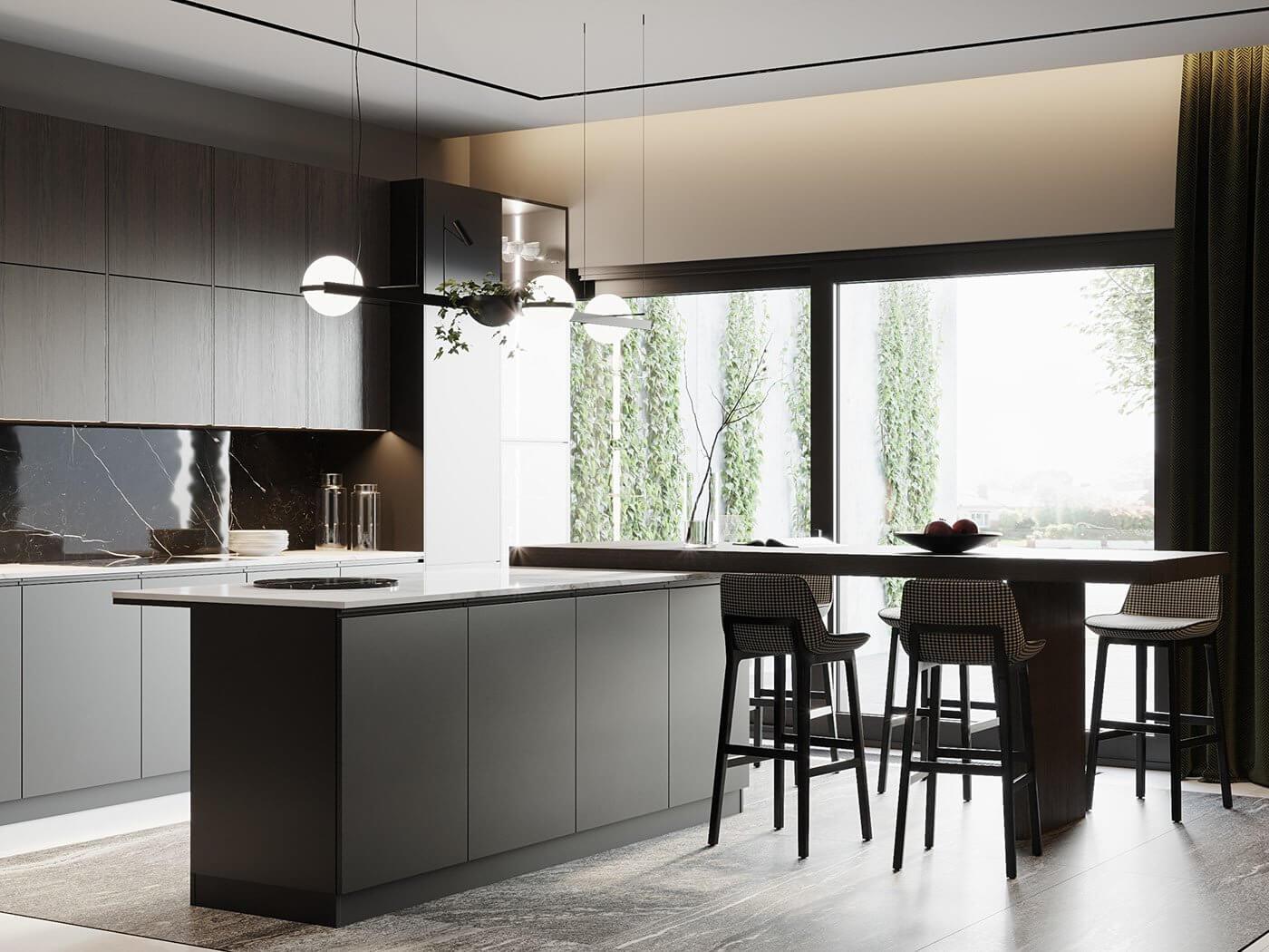 Dark living Apartment kitchen block modern - cgi visualization