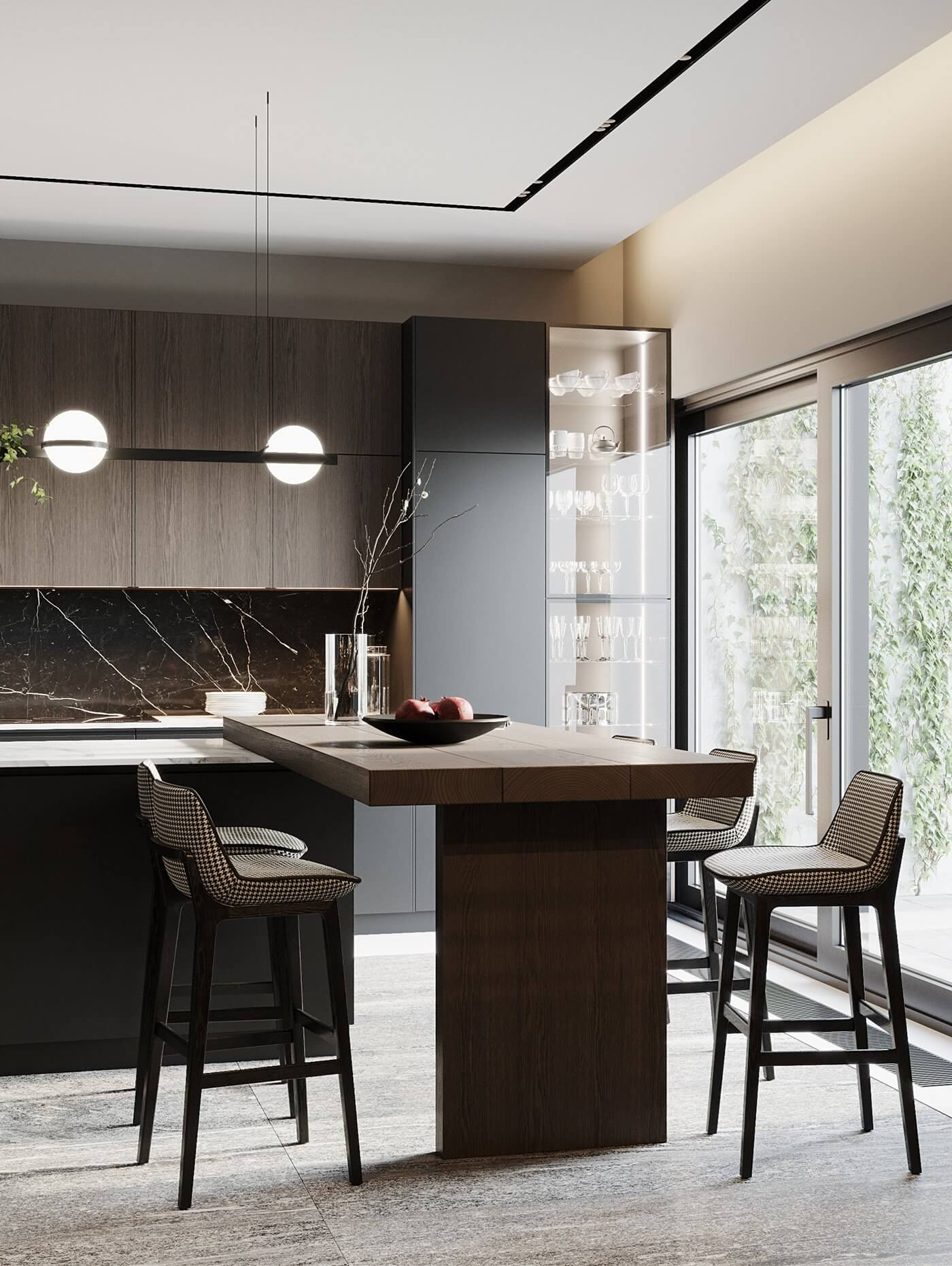 Dark living Apartment kitchen design pendant lamp modern - cgi visualization