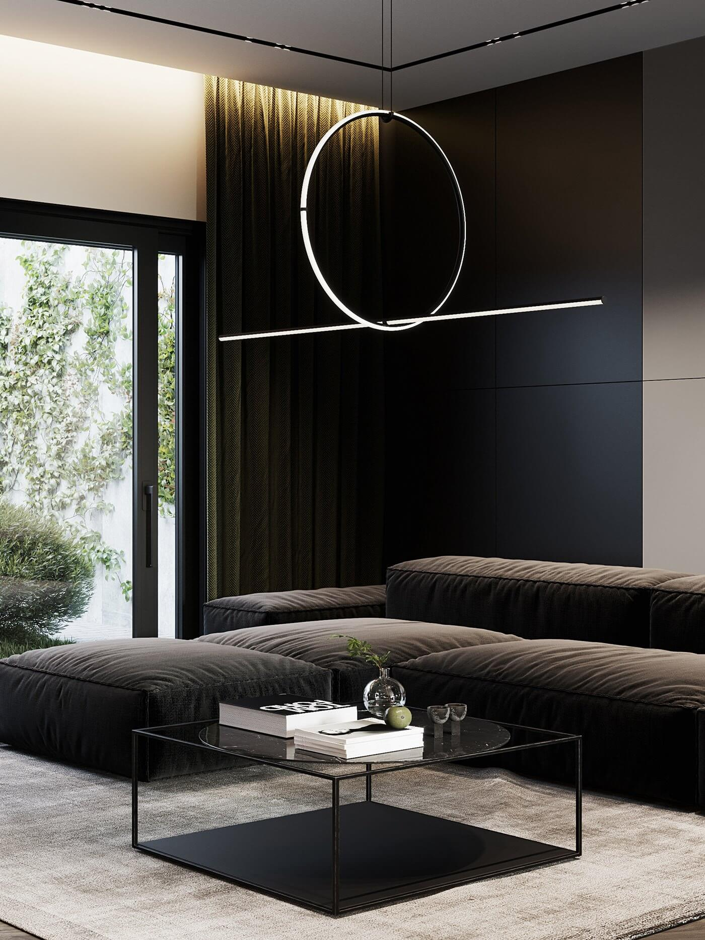 Dark living Apartment living room couch design - cgi visualization