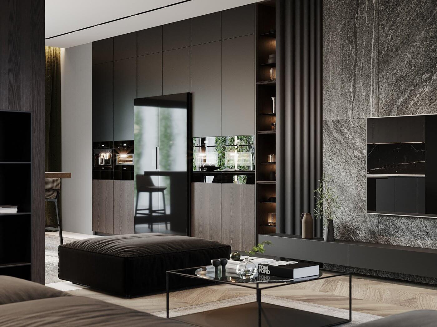Dark living Apartment living room design tv wall - cgi visualization