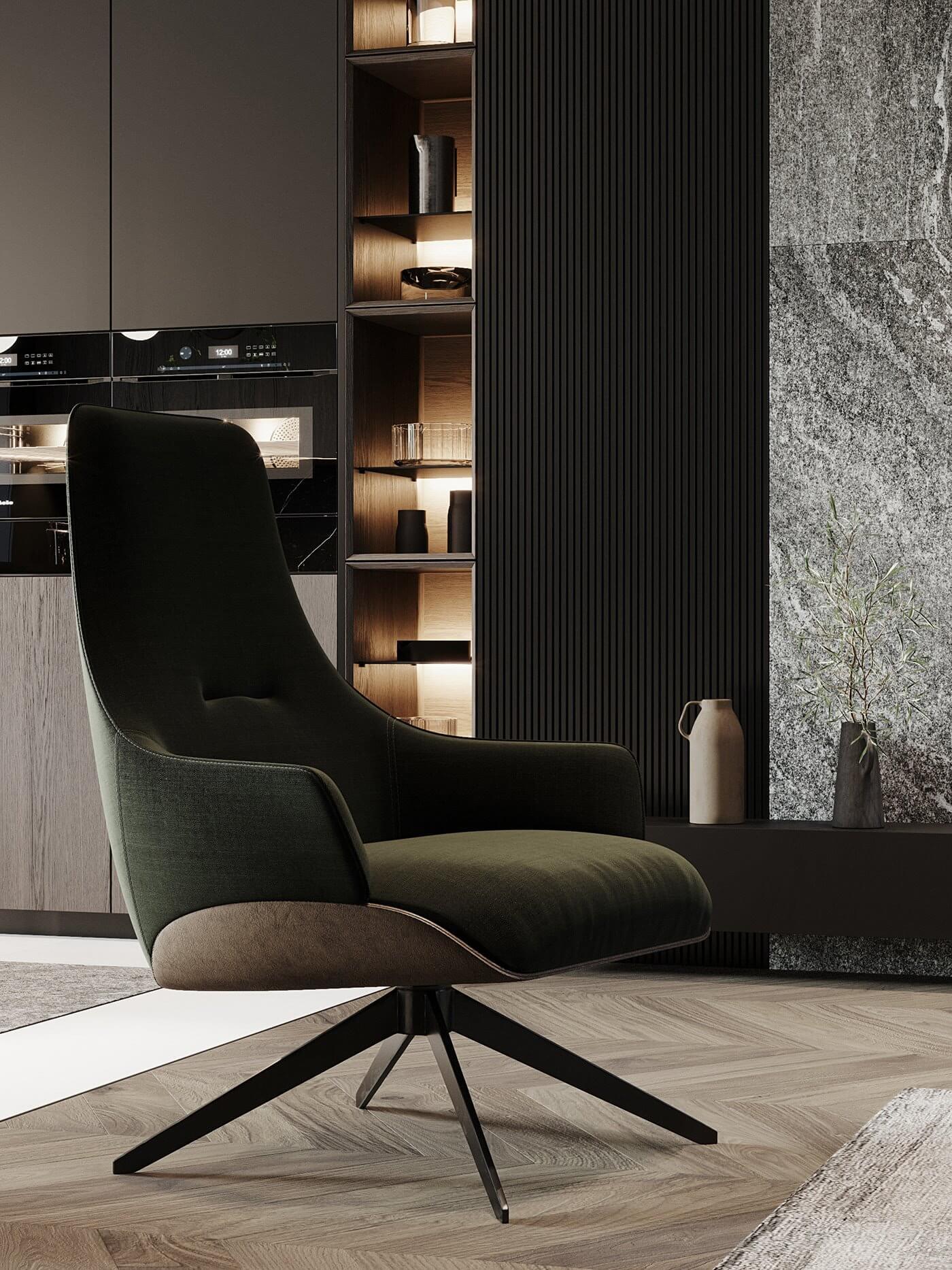 Dark living Apartment living room lounge chair - cgi visualization