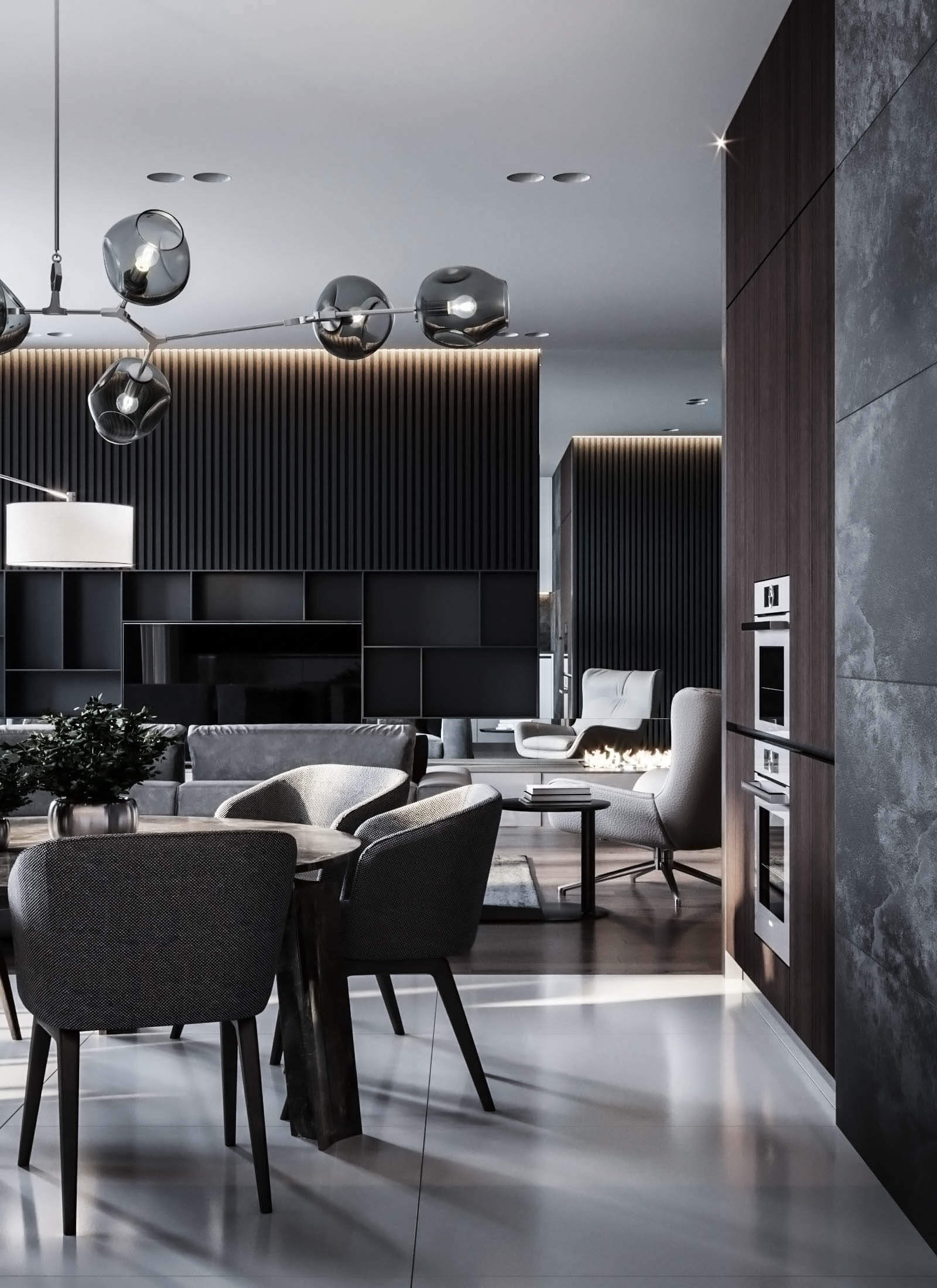 Dubrovka apartment dining & living room - cgi visualization