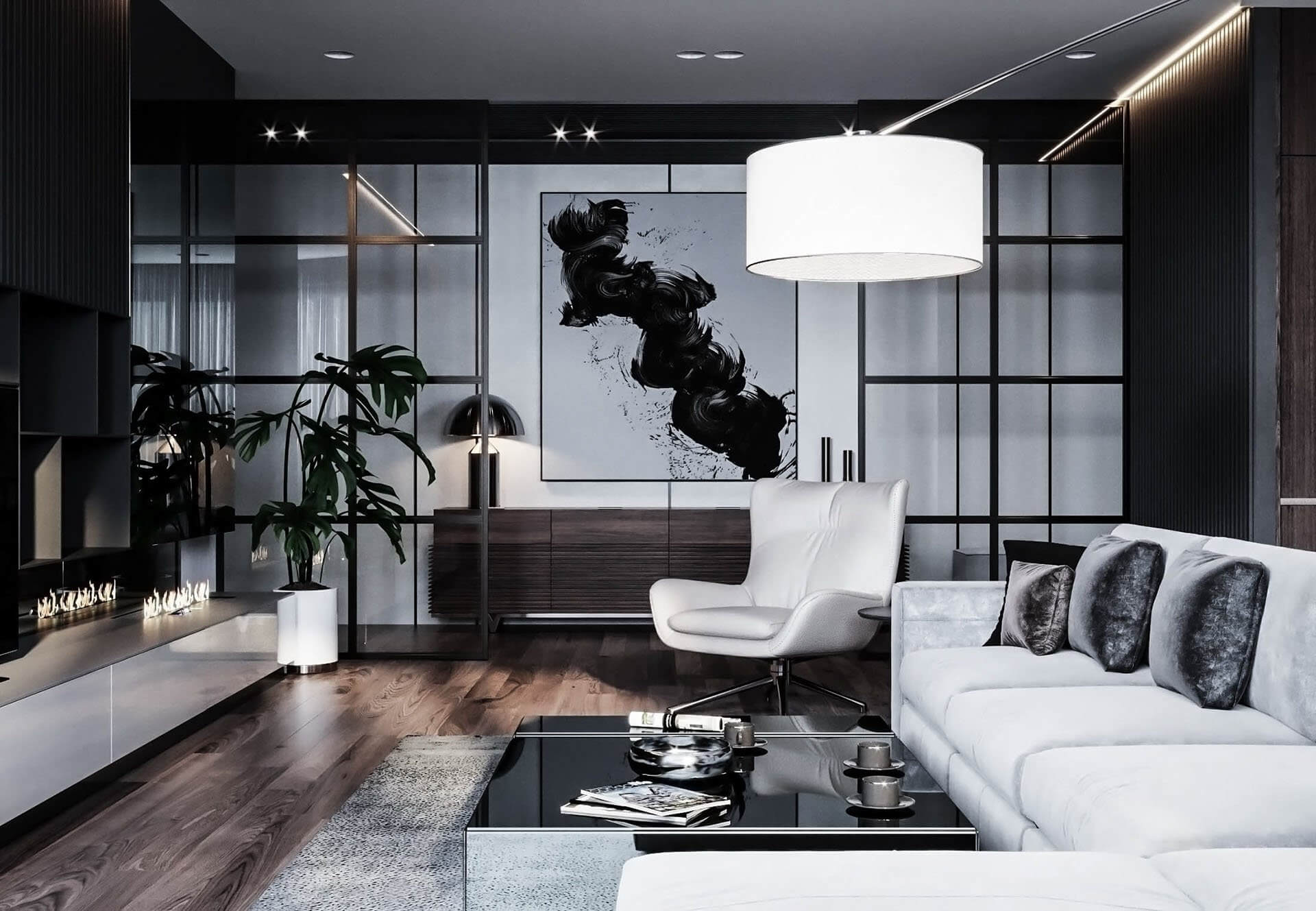 Dubrovka apartment living room 2 - cgi visualization