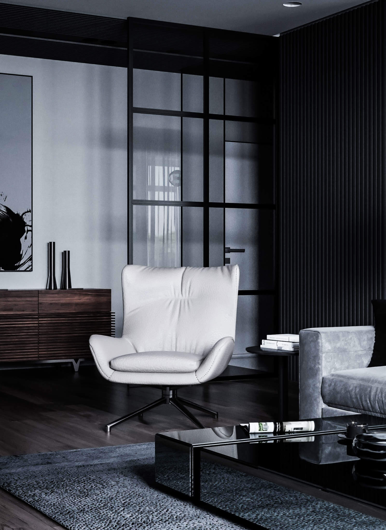 Dubrovka apartment living room seater leather - cgi visualization