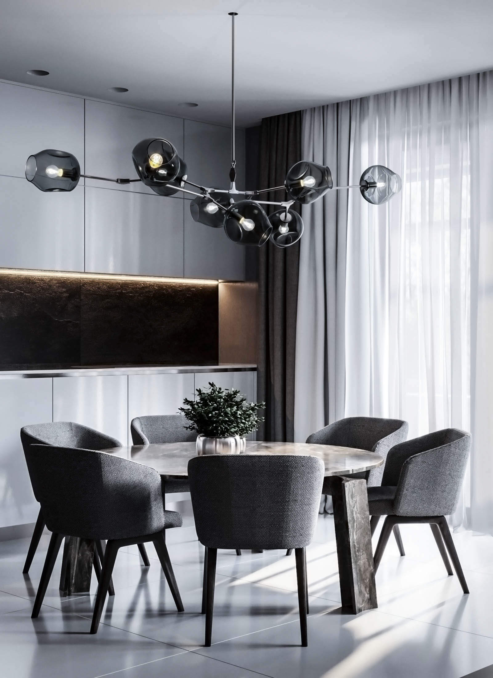 Dubrovka apartment sideboard dining room - cgi visualizatiomn