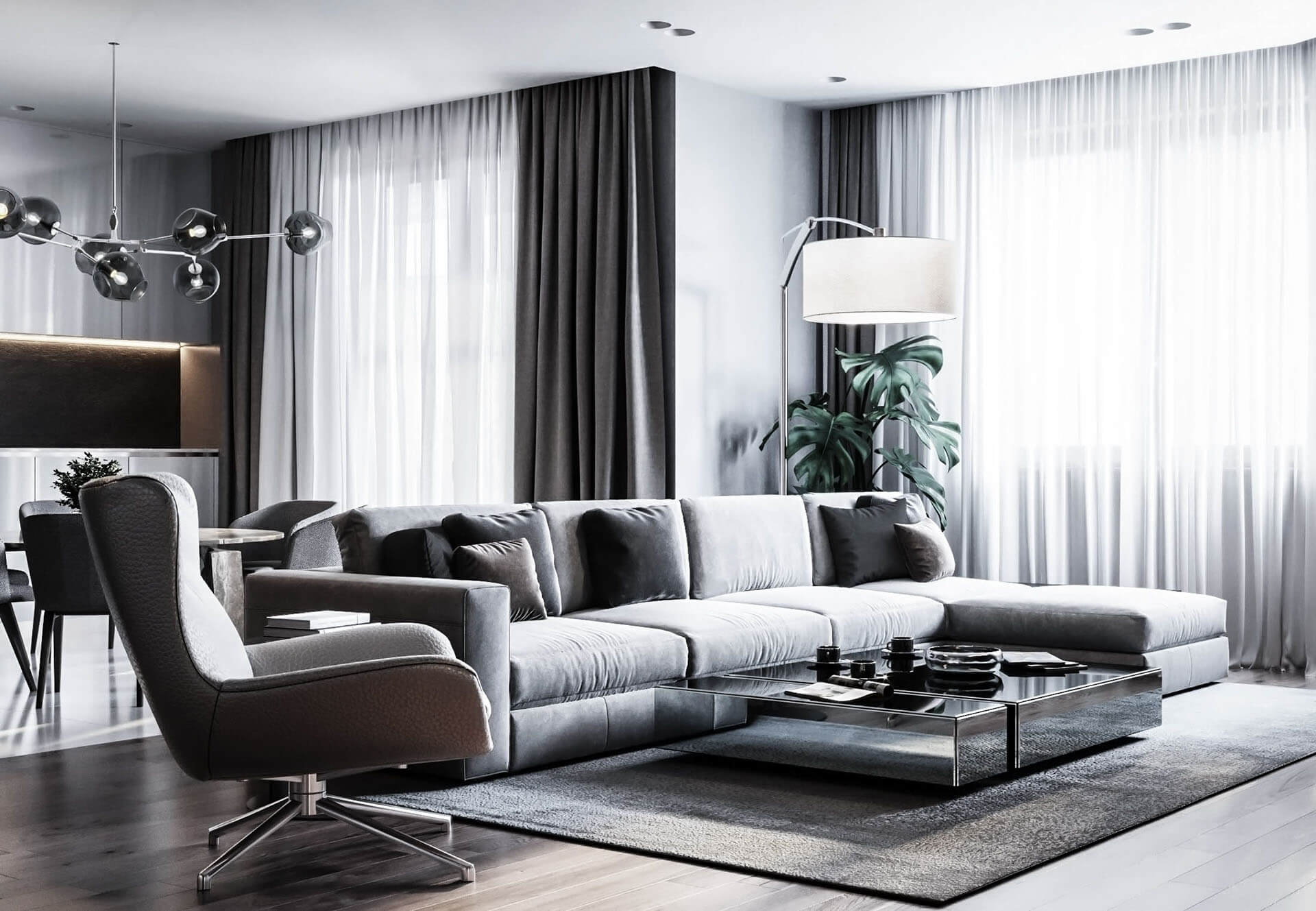 Dubrovka apartment sideboard living room couch - cgi visualization