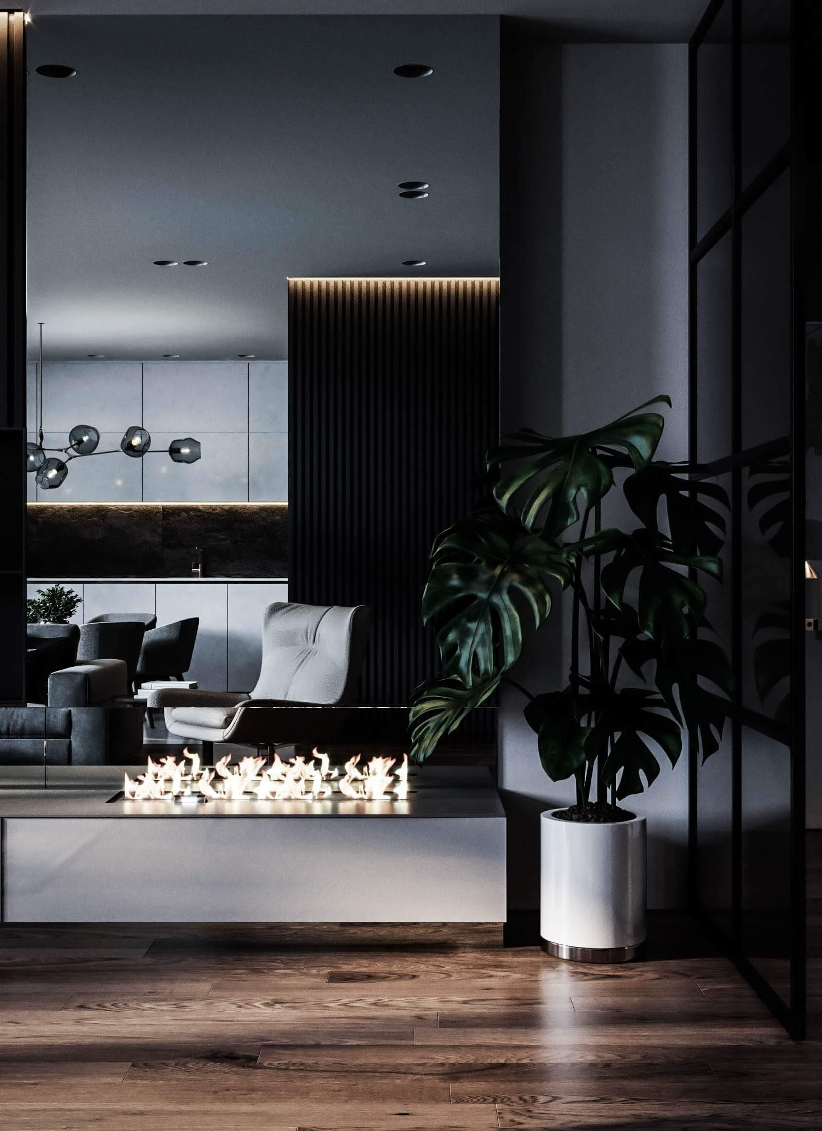 Dubrovka apartment sideboard living room fire place - cgi visualization