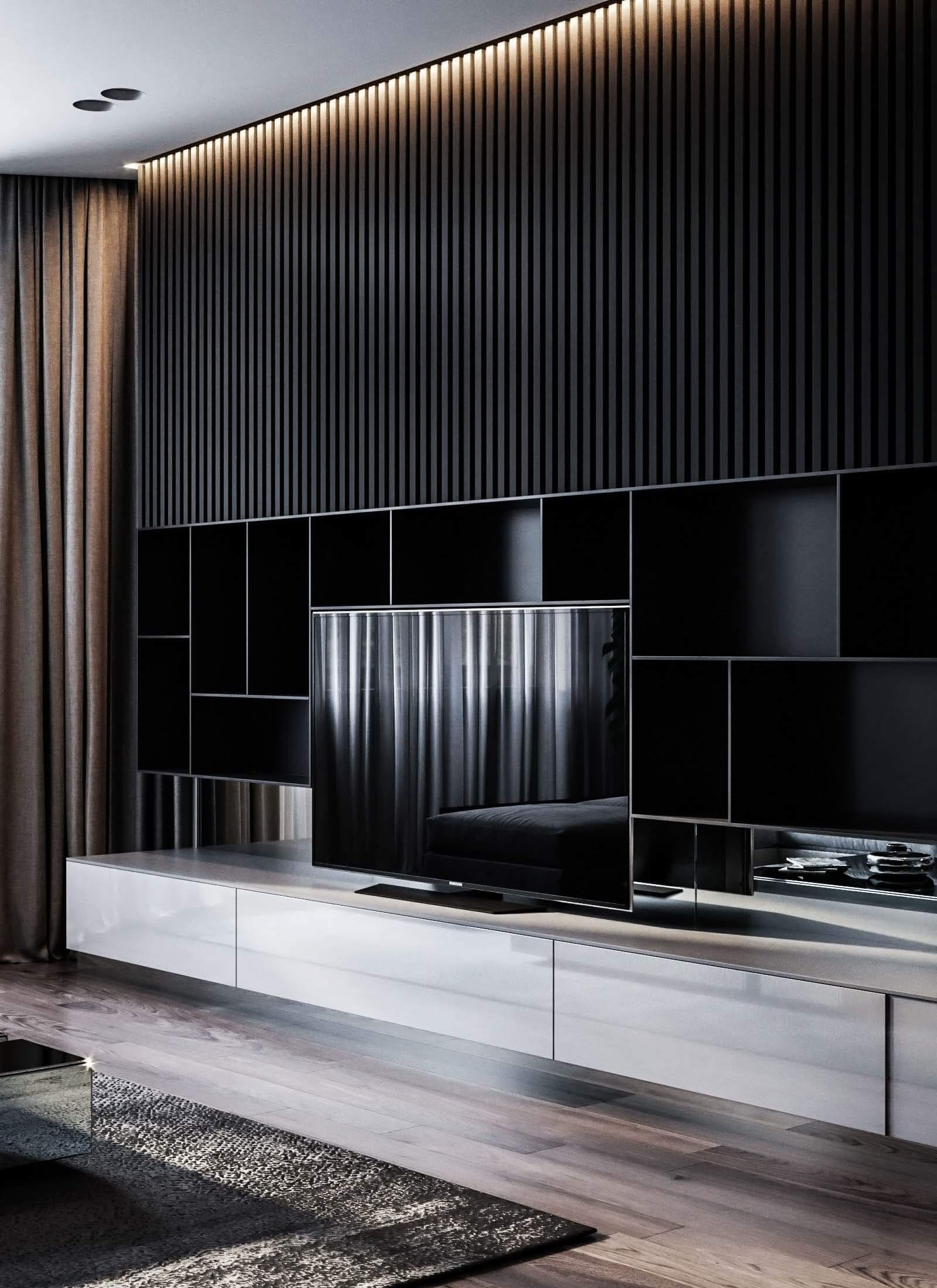 Dubrovka apartment tv wall living room - cgi visualization