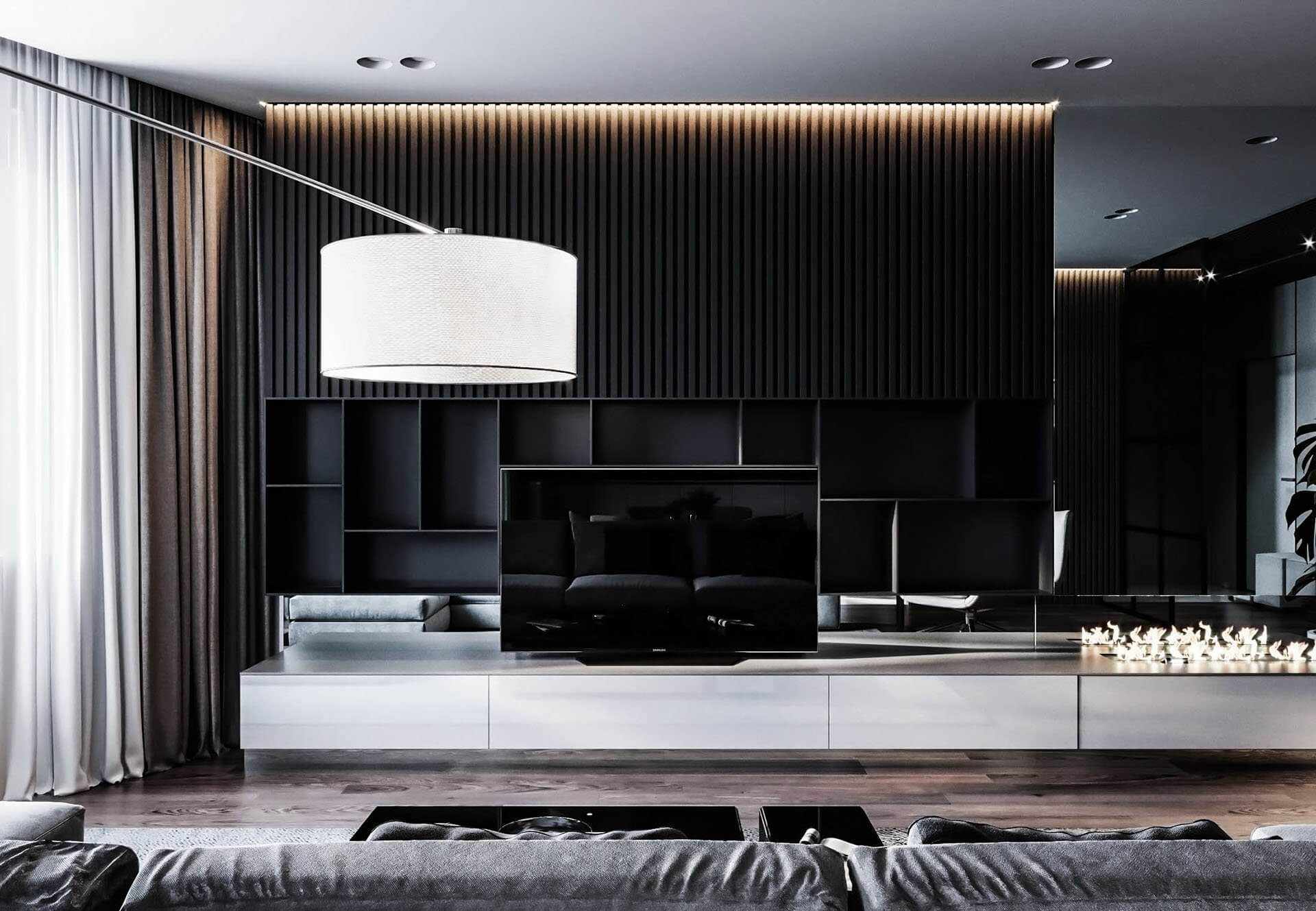 Dubrovka apartment tv wall living room fire place - cgi visualization