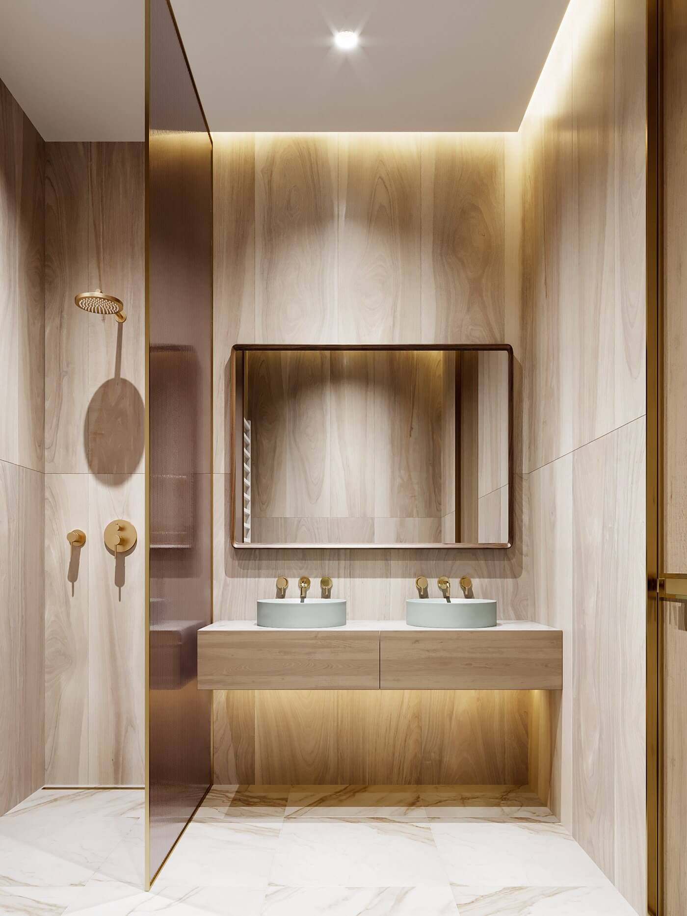 Green gold Apartment bathroom design - cgi visualization