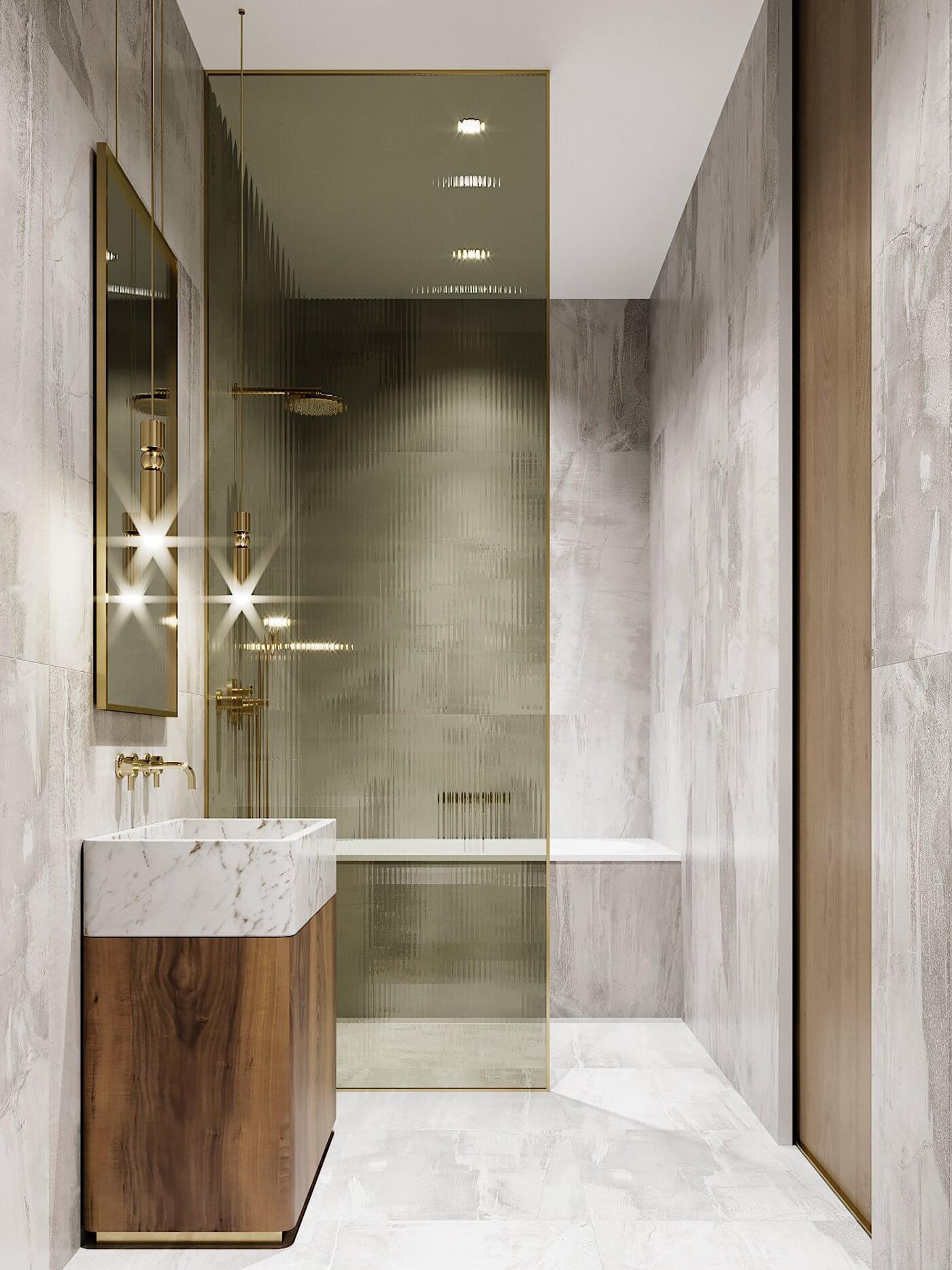 Green gold Apartment bathroom design shower - cgi visualization