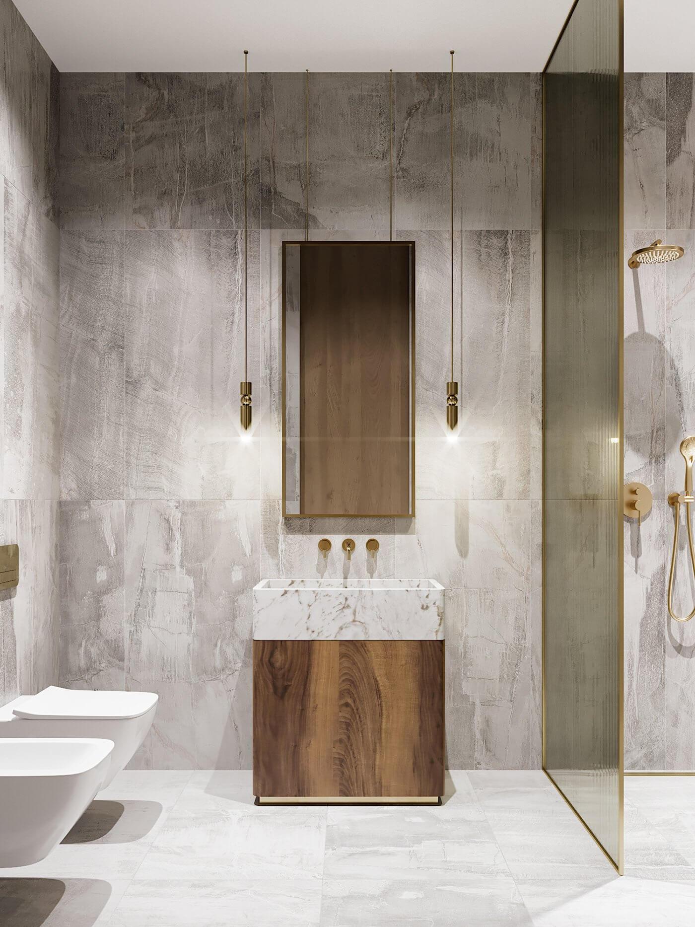 Green gold Apartment bathroom design wood cabinet wash basin wc - cgi visualization