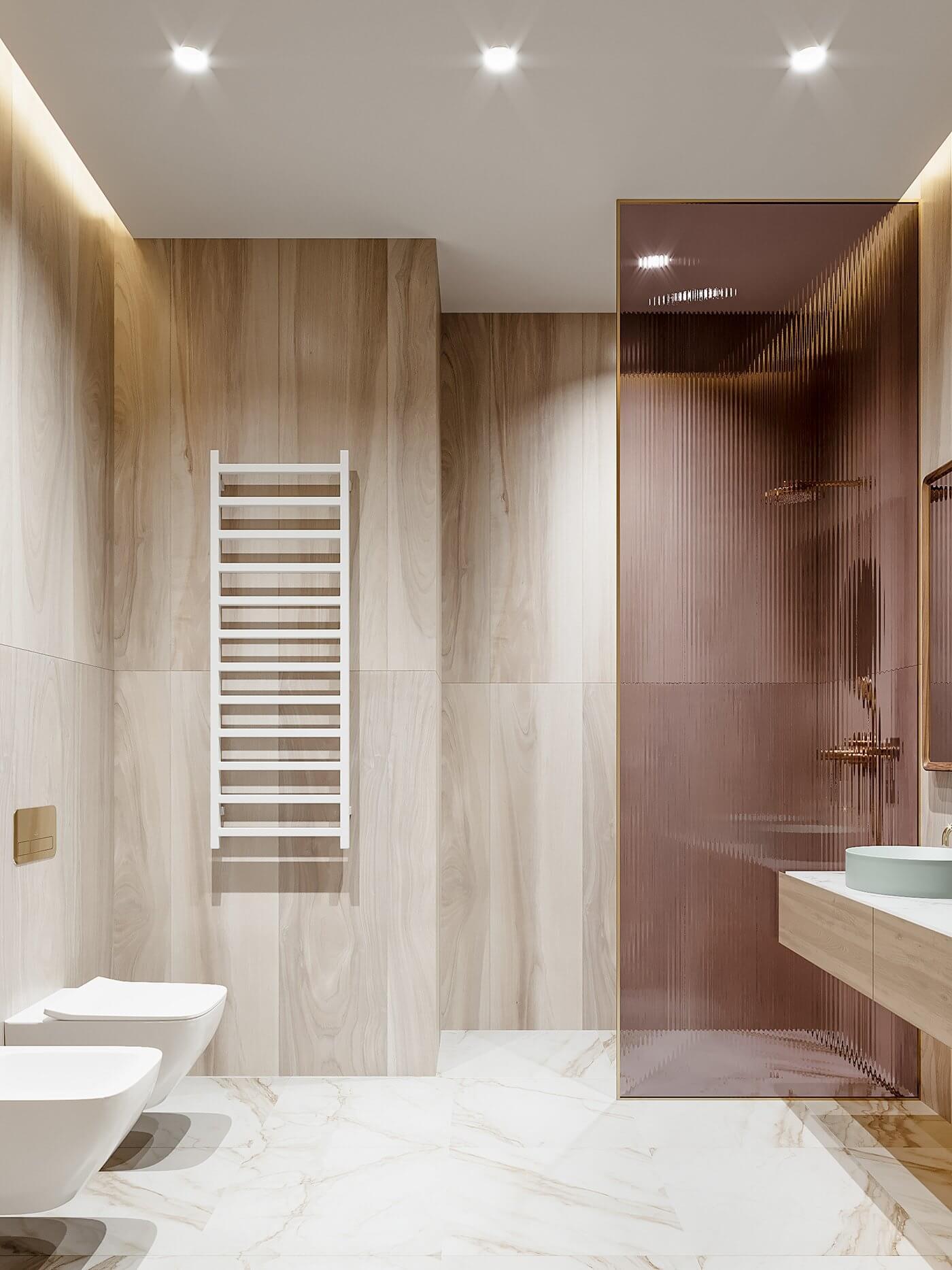 Green gold Apartment bathroom wall cladding wood - cgi visualization