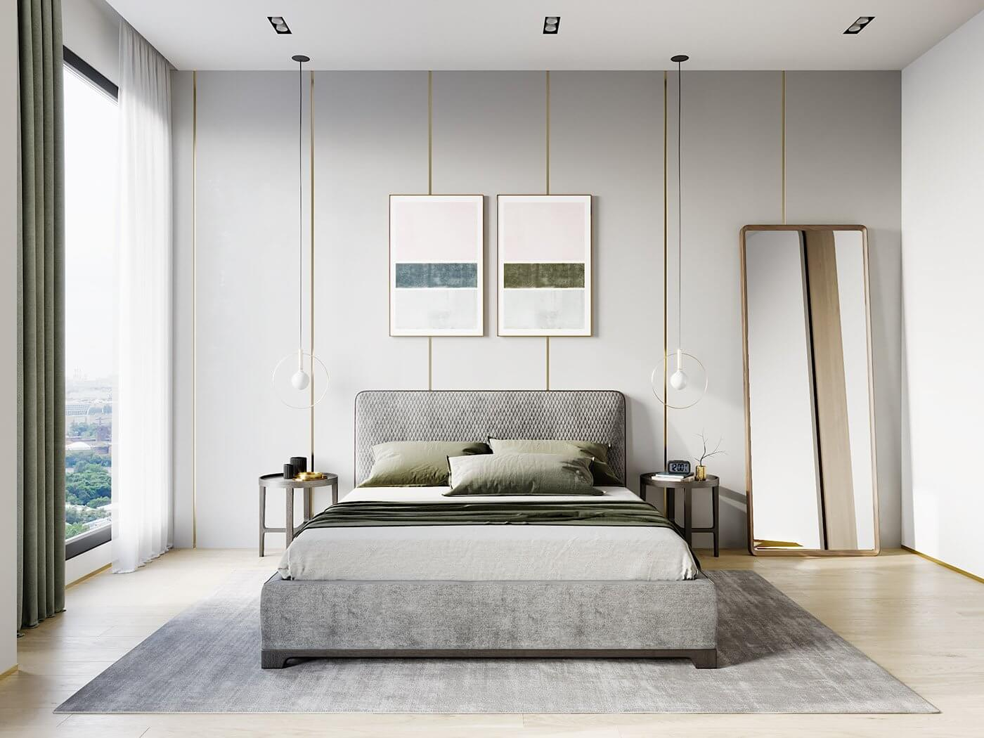 Green gold Apartment bedroom design - cgi visualization