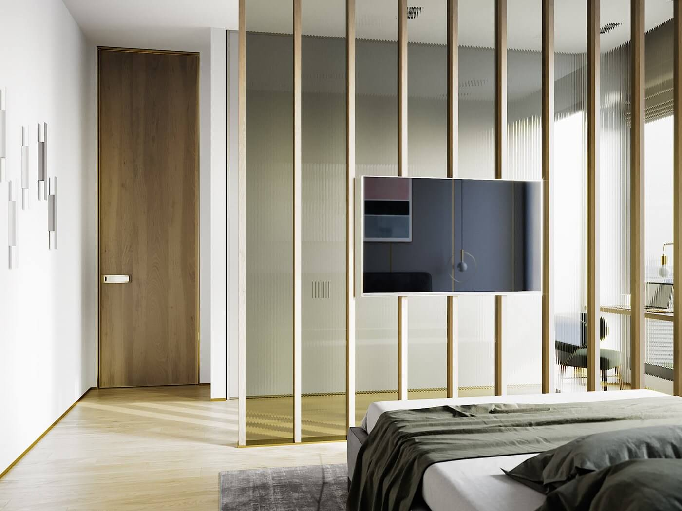 Green gold Apartment bedroom design tv wall wood cladding - cgi visualization