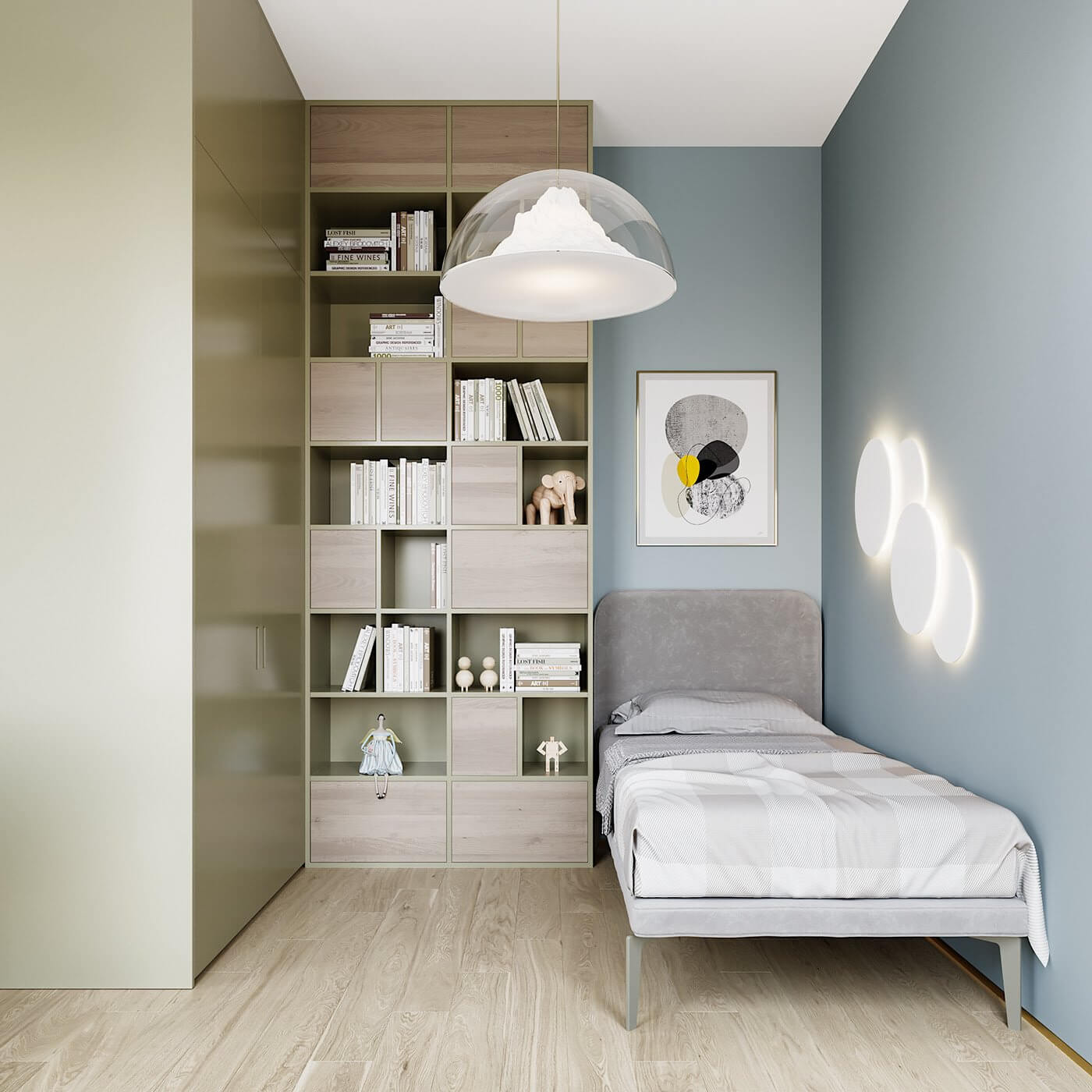 Green gold Apartment bedroom kids - cgi visualization