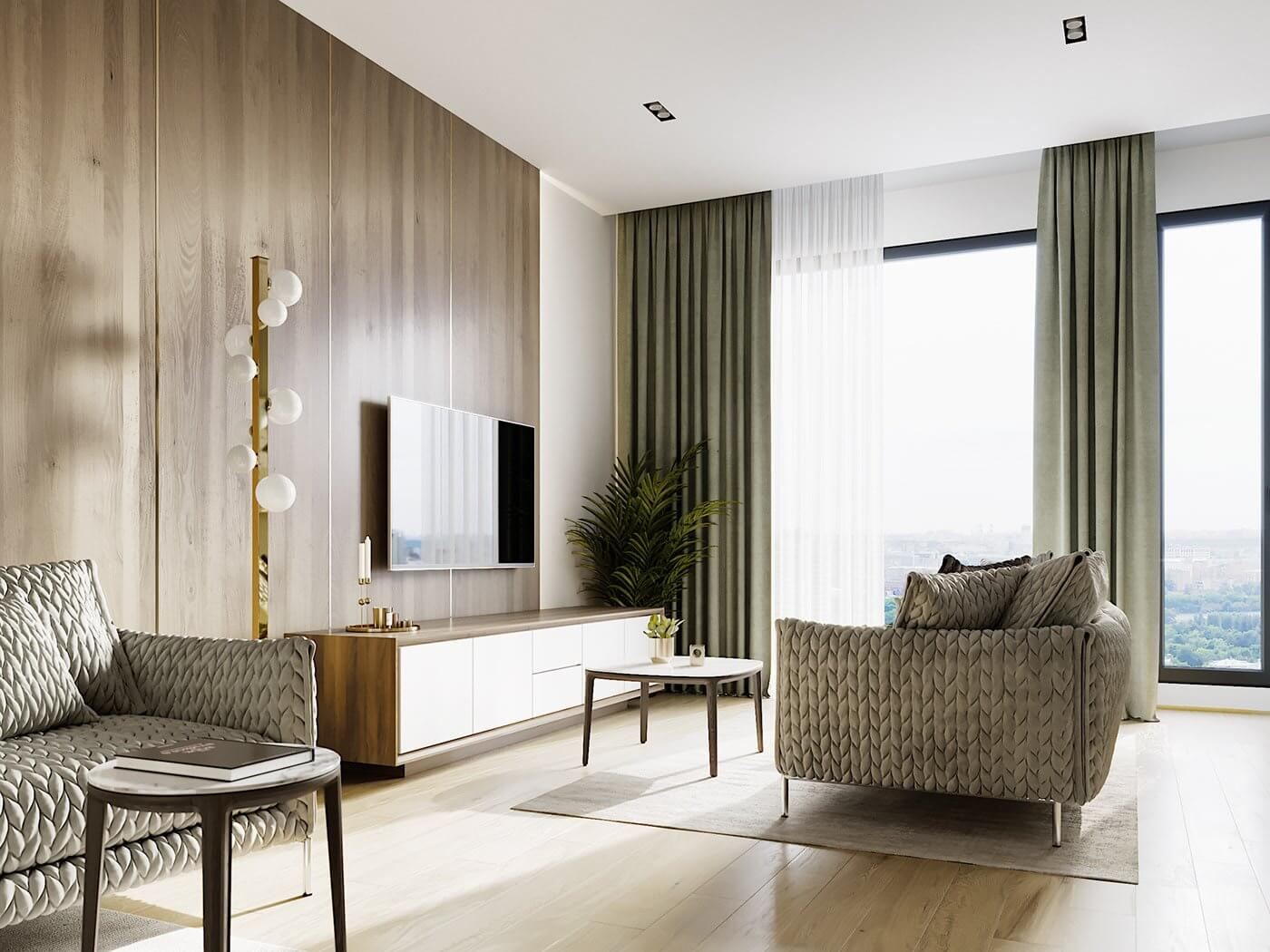 Green gold Apartment - cgi visualization
