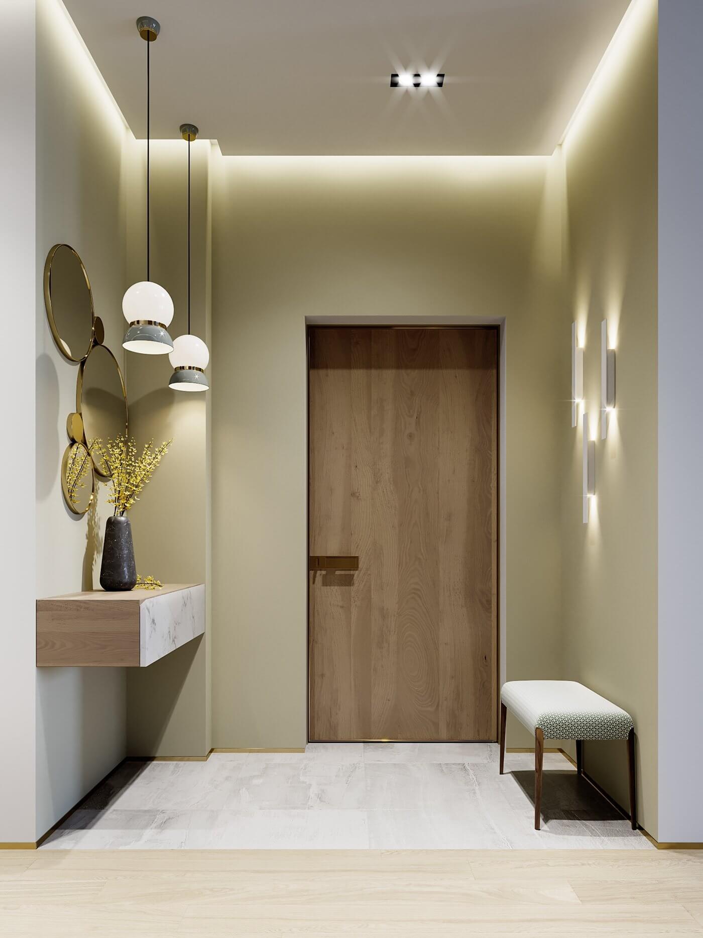 Green gold Apartment entrance corridor cabinet design - cgi visualization